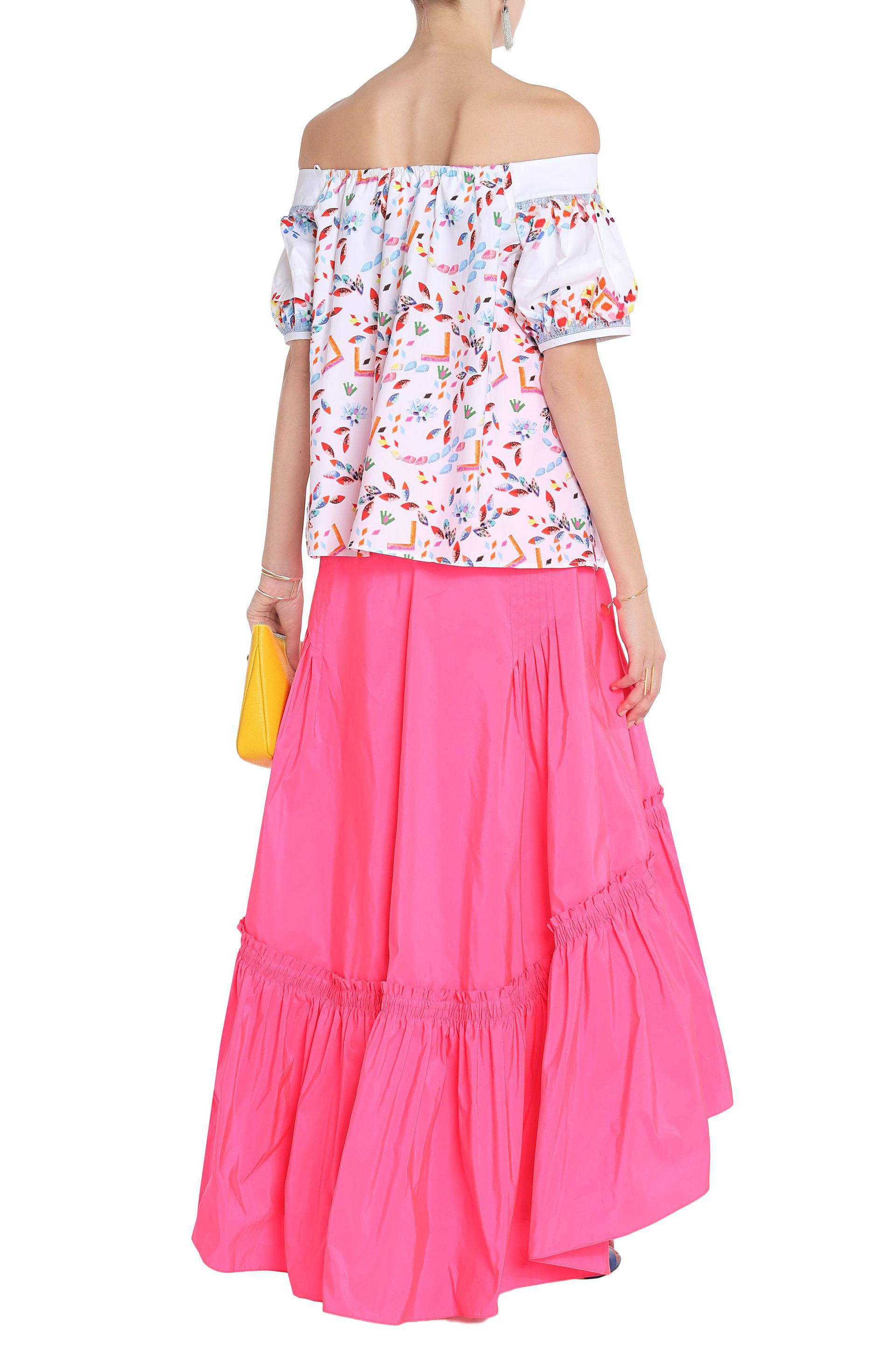 Peter Pilotto Woman Gathered Satin Maxi Skirt Bright Pink Size 12 Peter Pilotto Discount The Cheapest Low Price Fee Shipping Cheap Price GX6WHMY1M