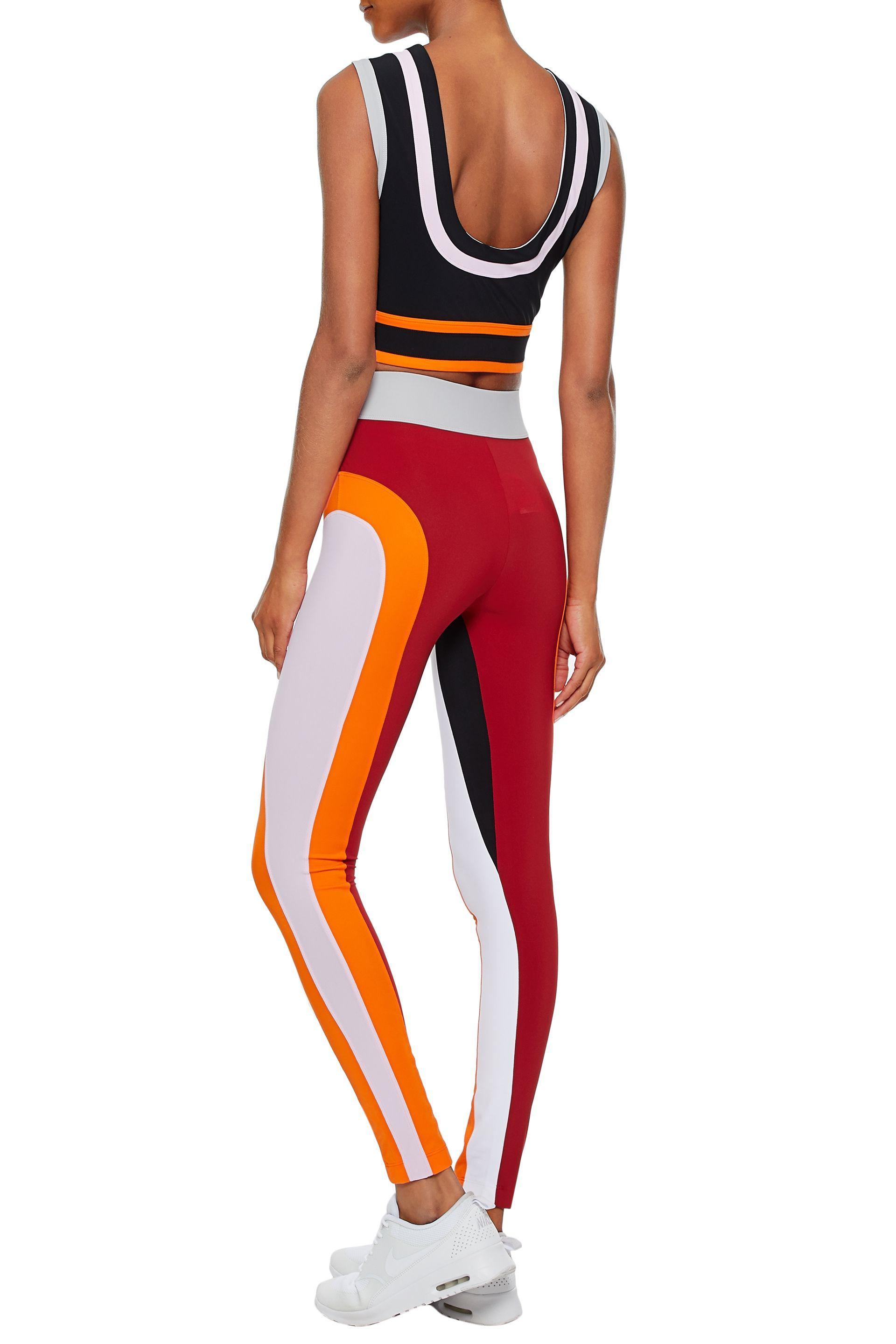 NO KA 'OI Synthetic Woman Cropped Color-block Stretch Top Multicolor in Red