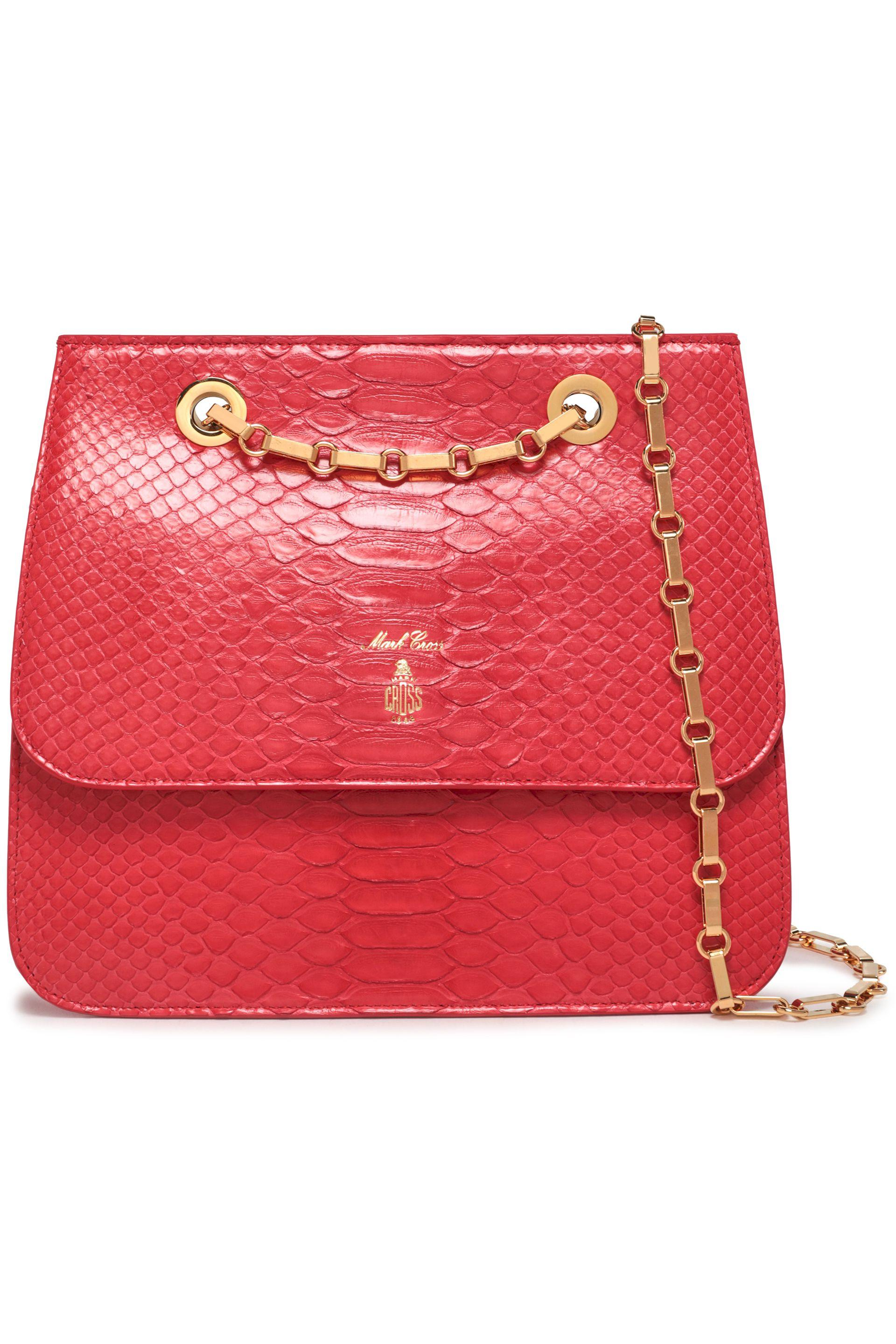 Mark Cross Woman Francis Python Shoulder Bag Red in Red - Lyst c20c9133dad42