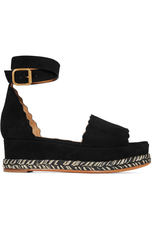 781e4b38bac00 Chloé. Women s Chloé Woman Lauren Scalloped Suede Platform Espadrille  Sandals Black