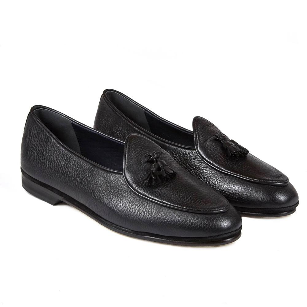 Dark Brown Marphy Woven Leather Loafers Rubinacci