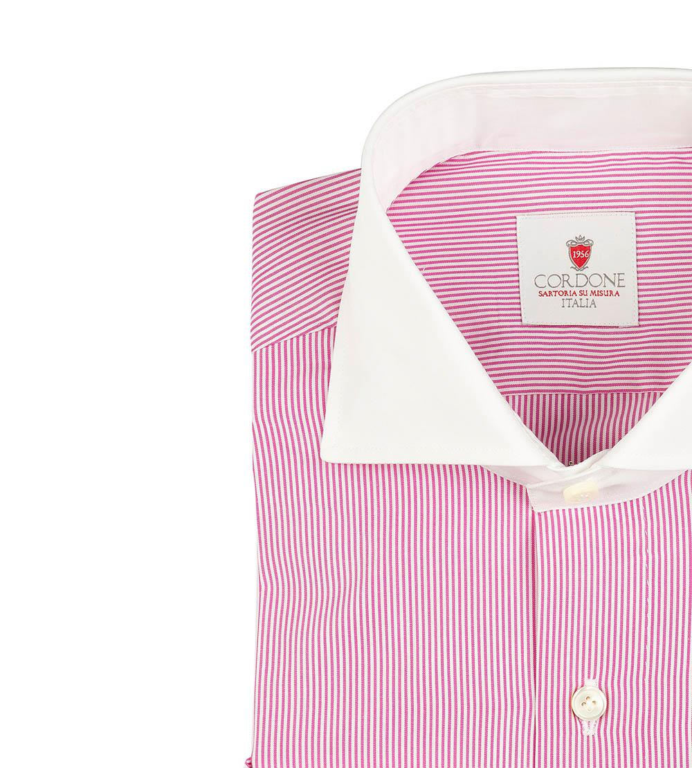 Outlet Factory Outlet White and Lilac Stripe Handmade Dandy Poplin Shirt Cordone 1956 Cheap Pictures Footlocker Pictures Cheap Price CSMyusu