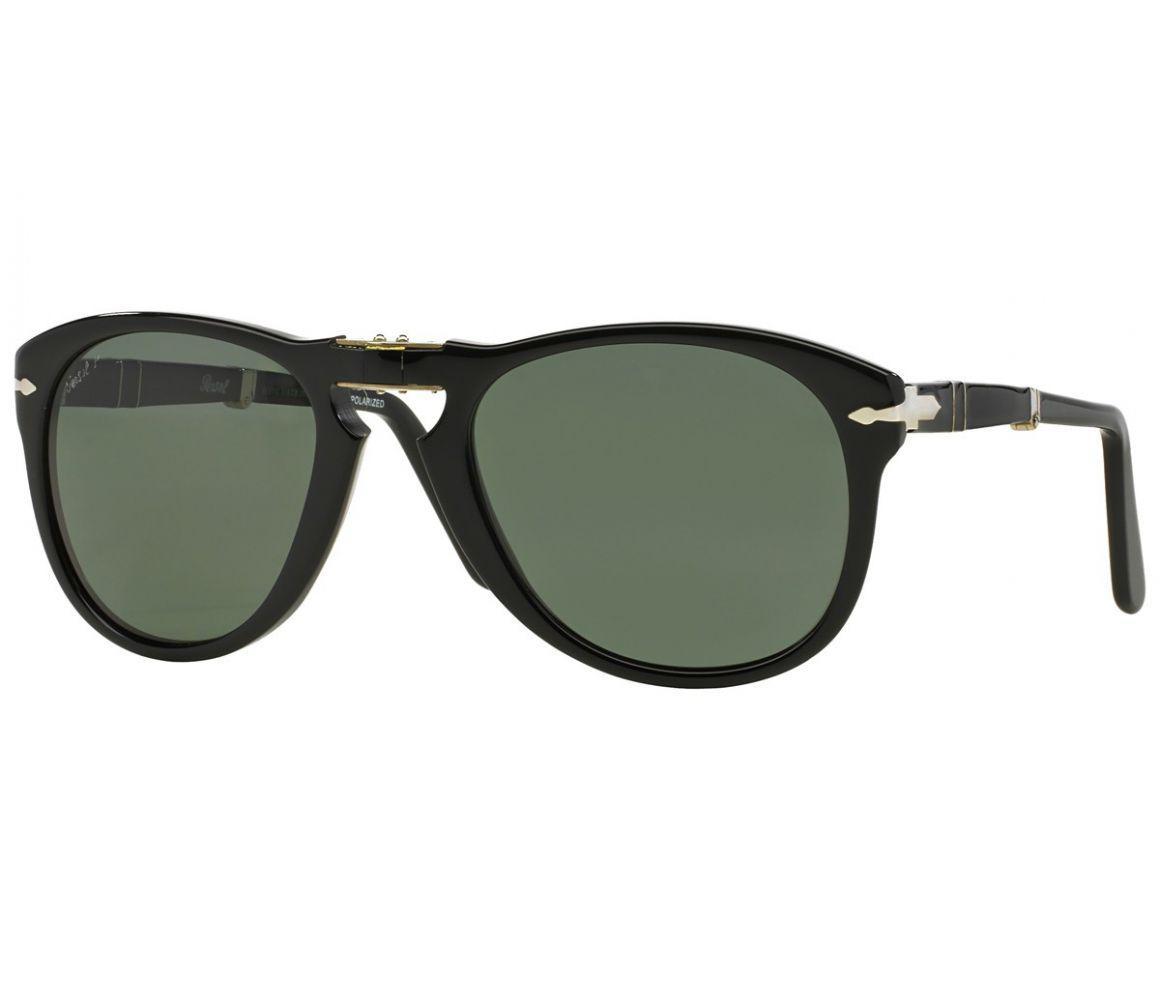 acb96e4b73 Persol. Men s Icons Po0714 Steve Mcqueen 95 58 Folding Black With Green  Polarized Lenses Sunglasses