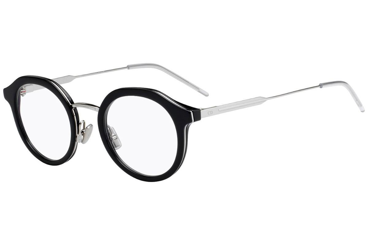 59af8e0fa2f Dior Homme. Men s Black And Silver Round Frames With Clear Lenses Eyewear  ...