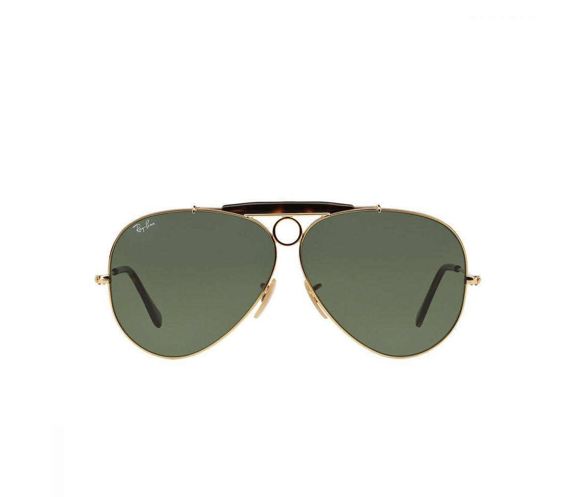 ef7753fb41 Ray-Ban. Men s Metallic Aviator Rb3138 181 Gold And Green Lenses Sunglasses
