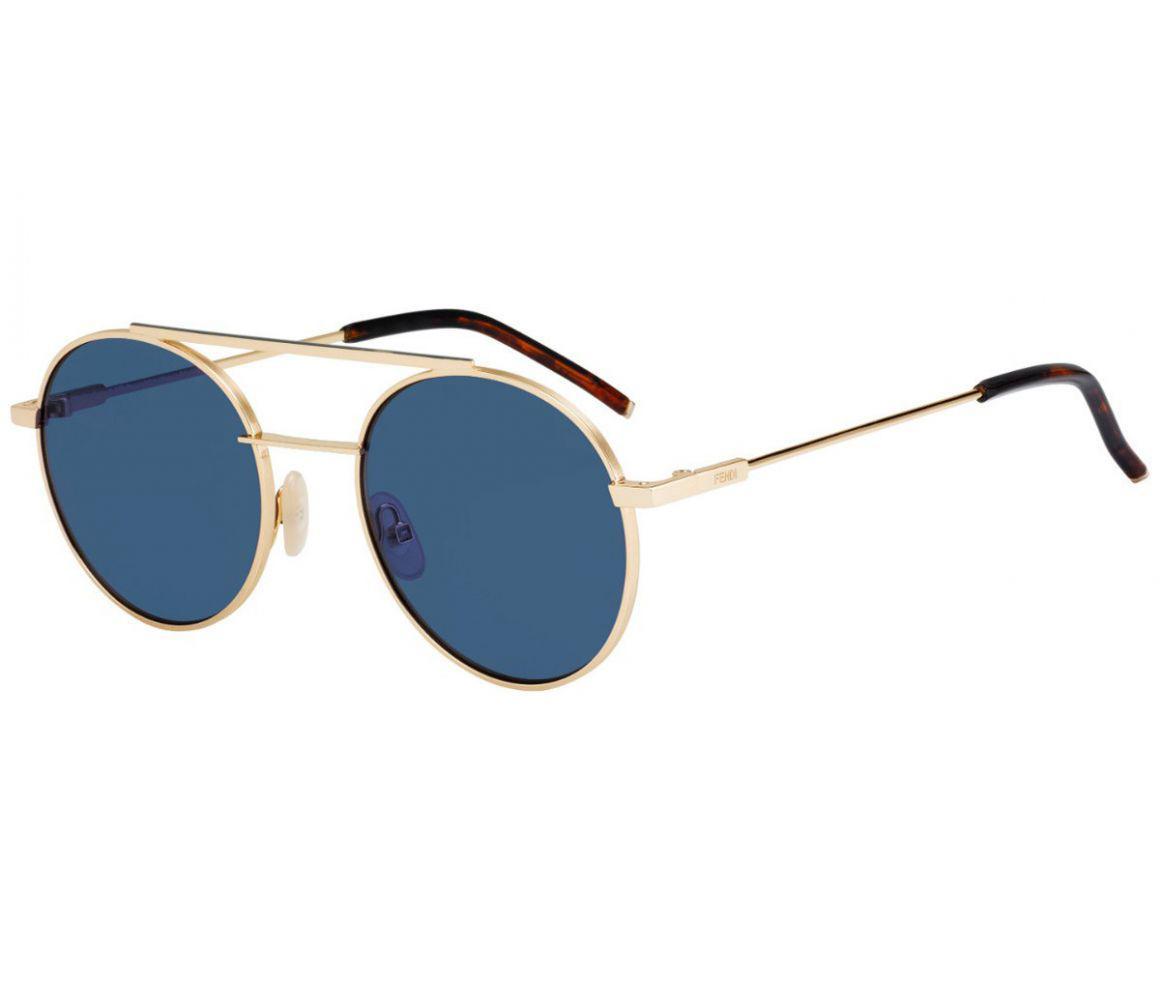 f06a06b83a Lyst - Fendi Air Gold Round Frames With Blue Lenses Sunglasses ...