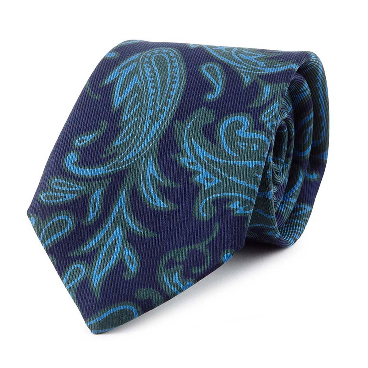 Taupe and Sky Blue Iris Silk Tie Augustus Hare QV4jCr