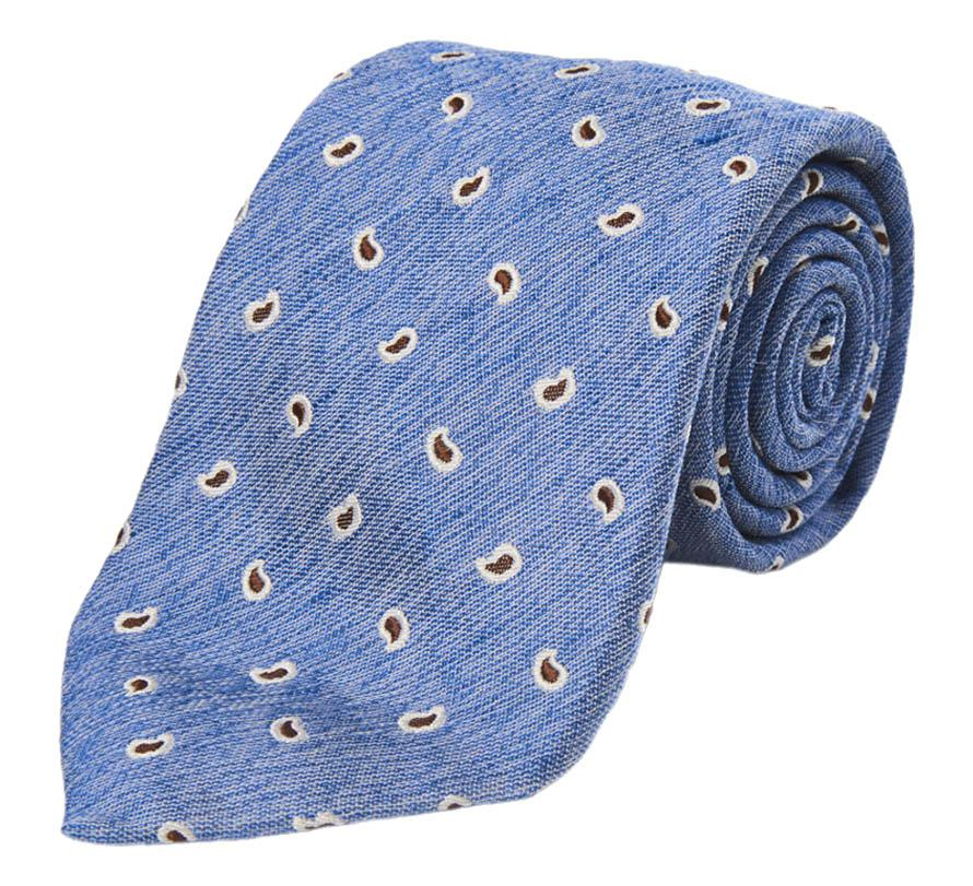 Red and Blue Paisley Silk and Linen Tie Calabrese 1924 kIQ1GuEr
