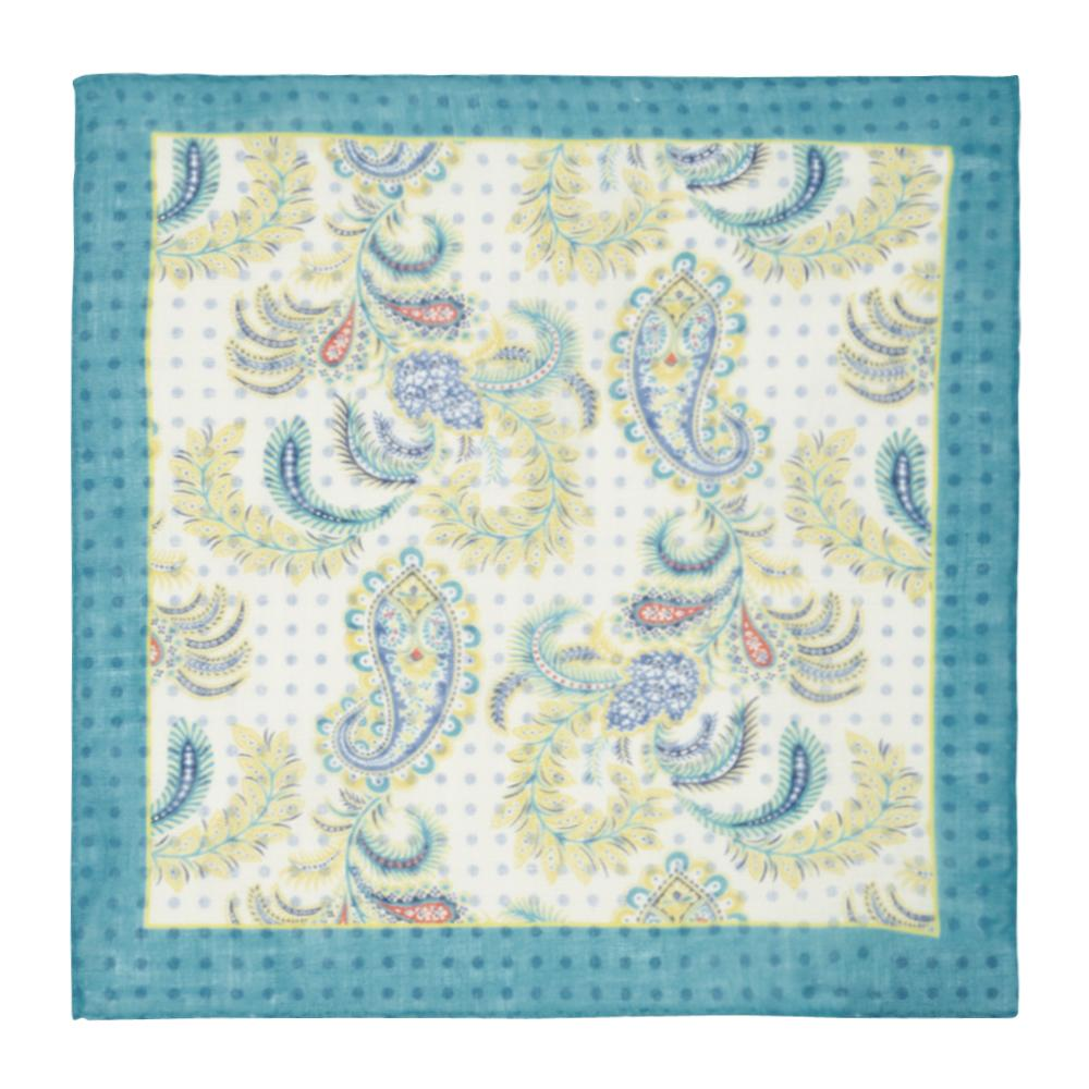 Drake/'s Pocket Square  Sky blue w//red splash print Pure linen