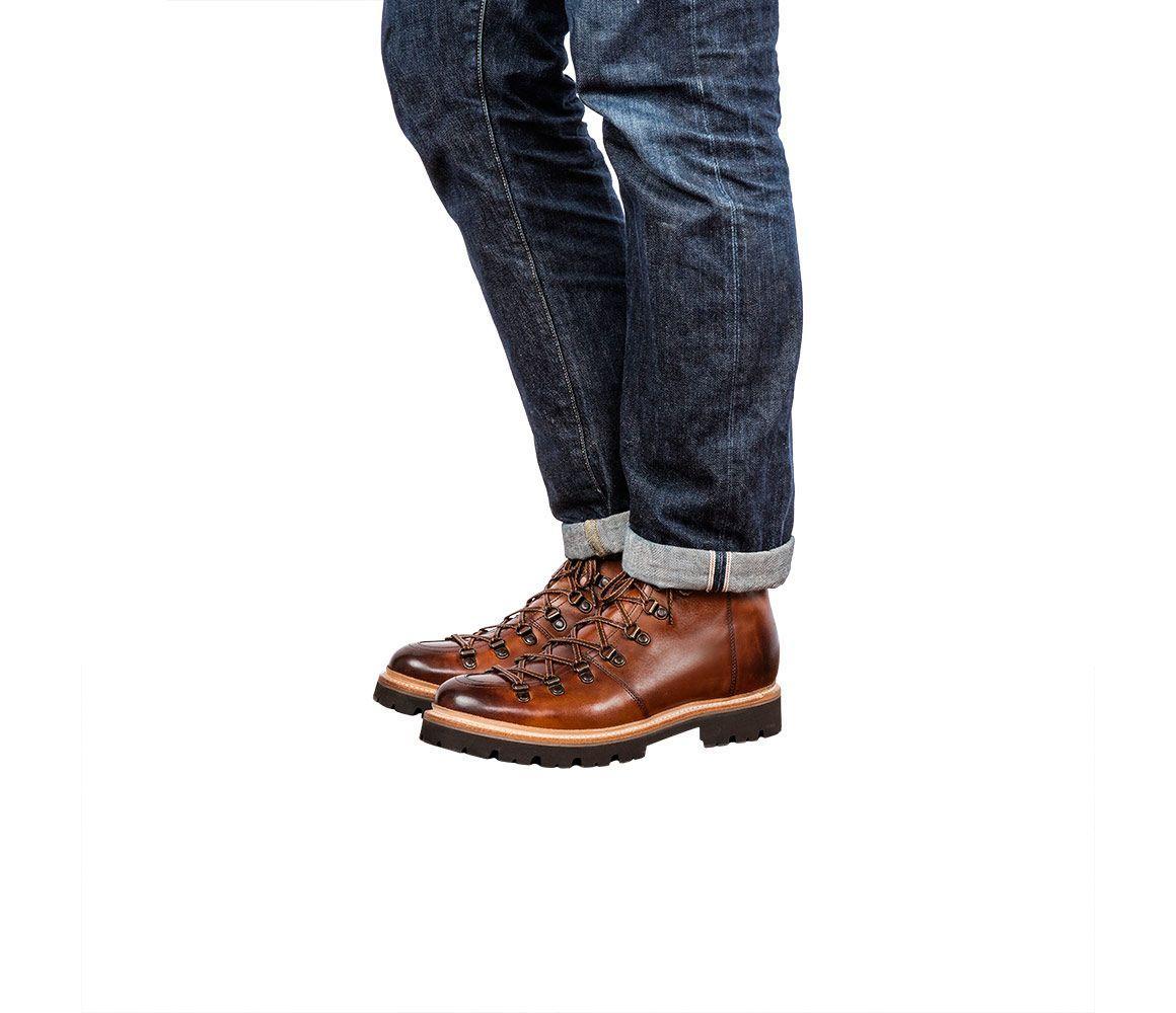 new arrival unique design shoes for cheap Tan Grain Leather Brady Hiker Boots