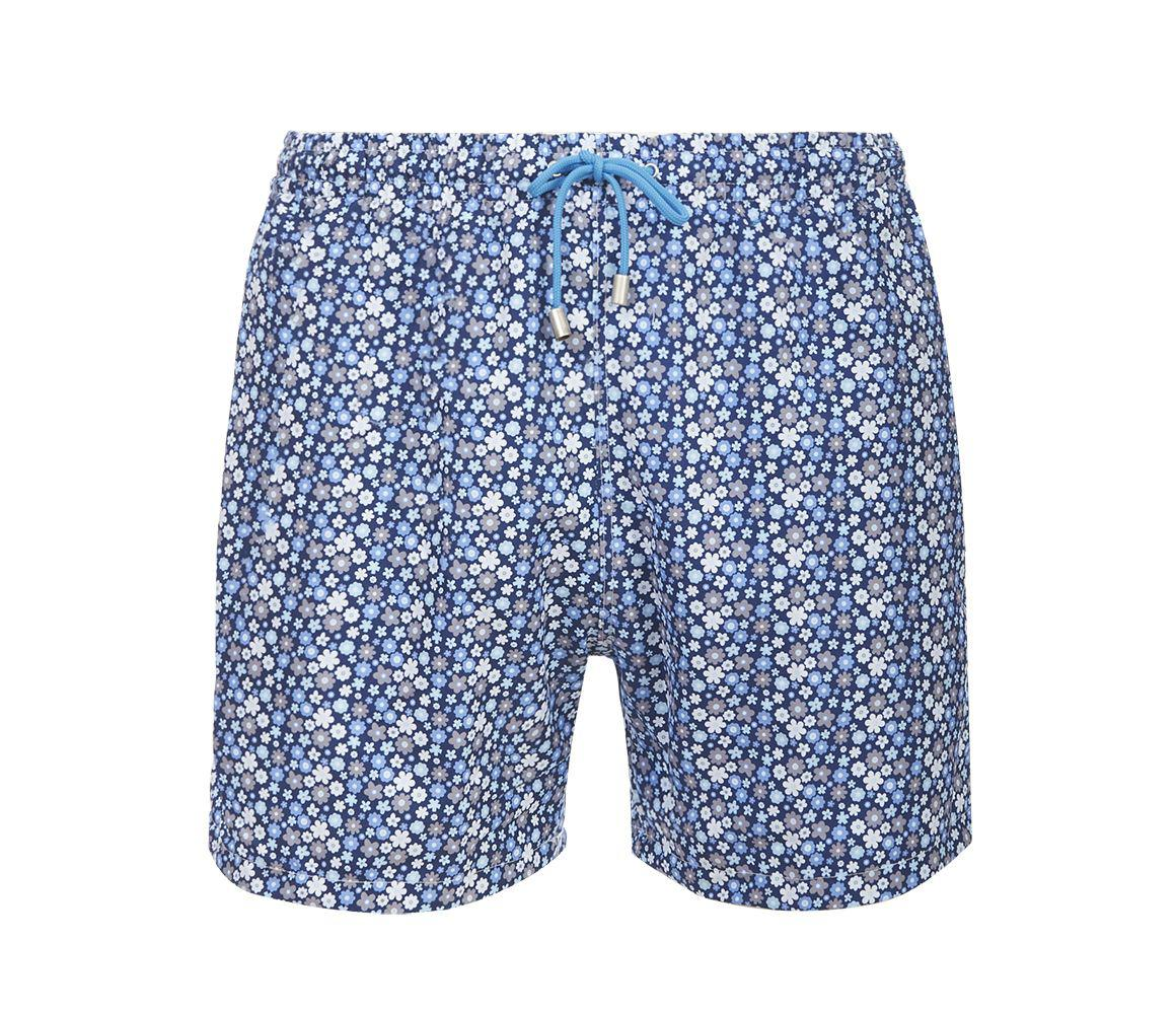 7f7cd883f4486 Fumagalli 1891. Men's Blue And White Panarea Floral Print Swimming Shorts
