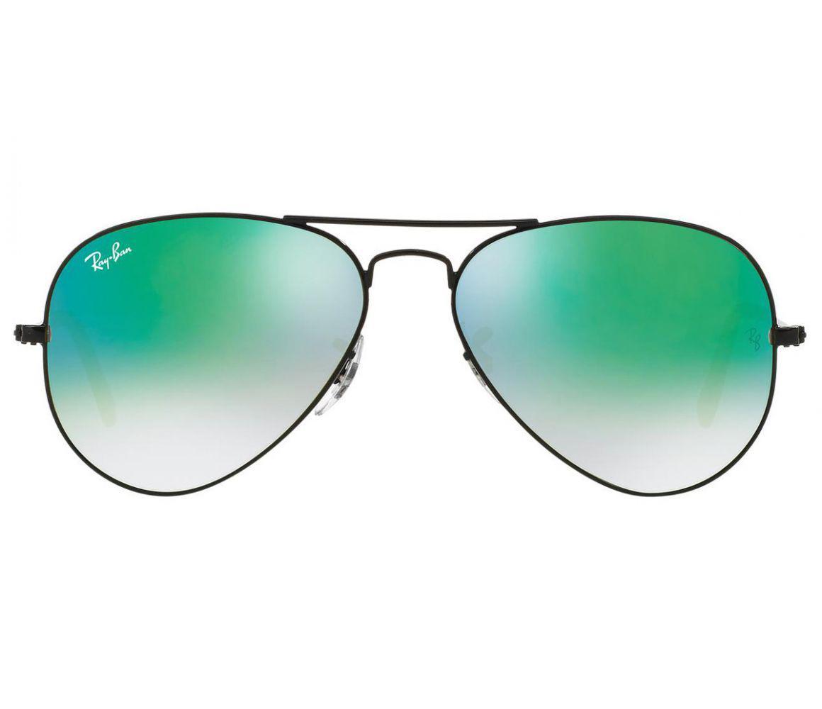 457d99aaec Ray-Ban. Men s Aviator Flash Rb3025 002 4j Black Frames With Blue Lenses  Sunglasses