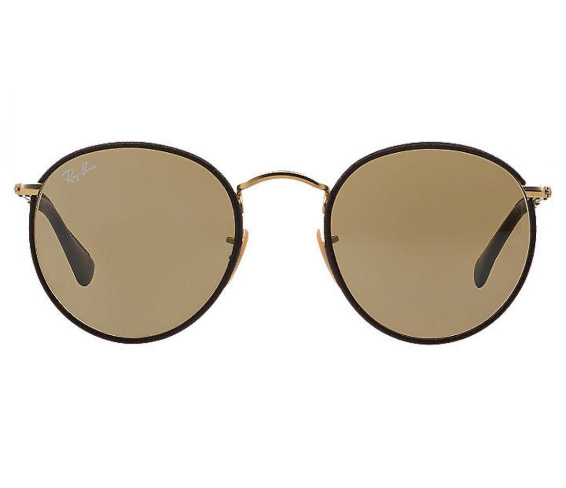 54577c4c13d Lyst - Ray-Ban Round Craft Rb3475q 112 53 Brown Leather And Gold ...