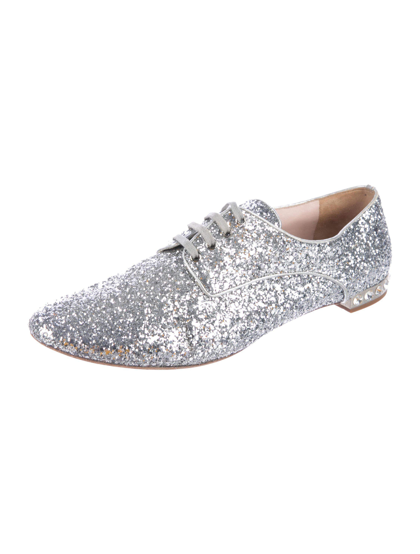 1ed7ca48e328 ... Metallic Miu Glitter Round-toe Oxfords Silver - Lyst. View fullscreen