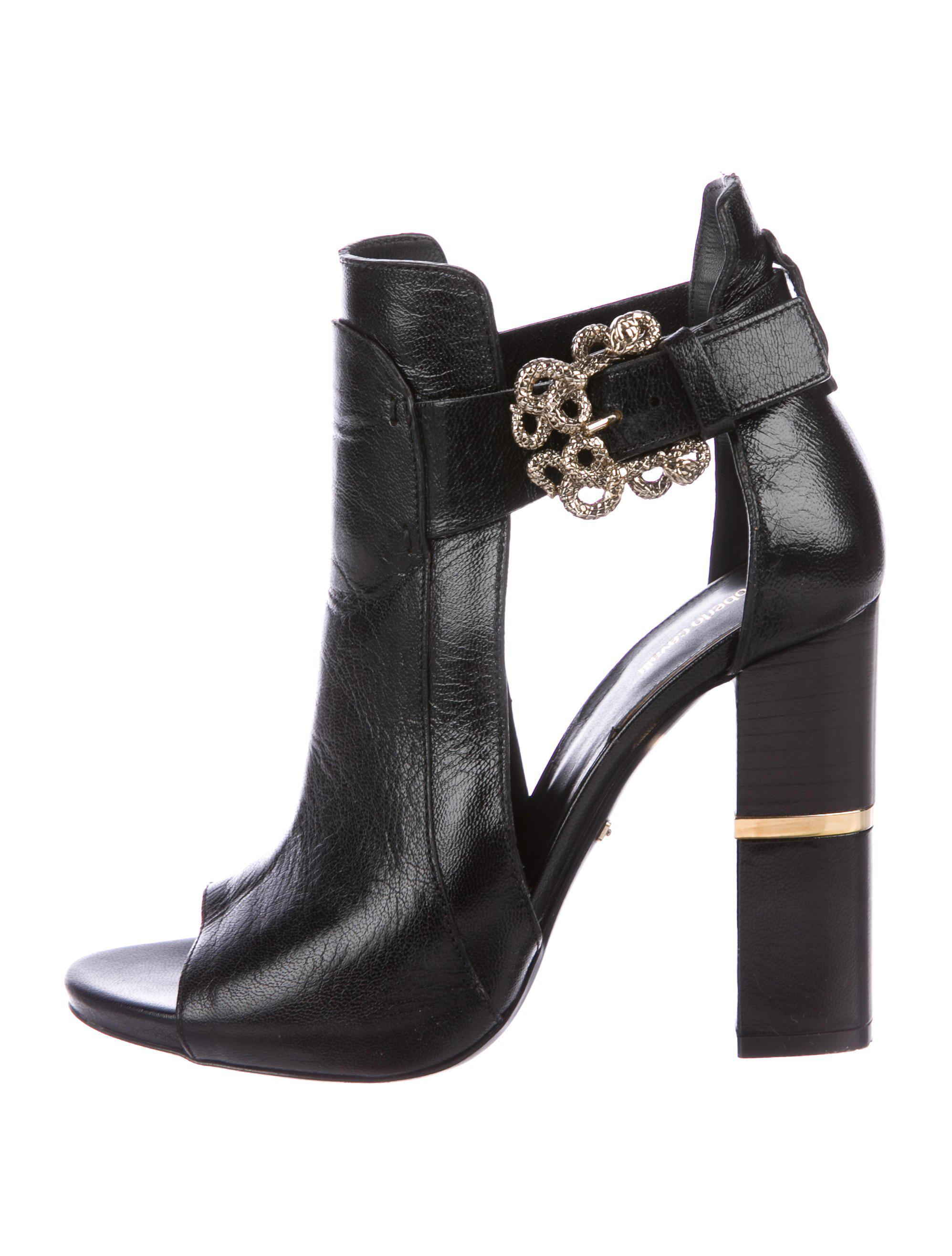 Roberto Cavalli Leather Cutout Booties clearance best clearance hot sale buy cheap cost latest collections cheap price outlet locations online CAkXyfr