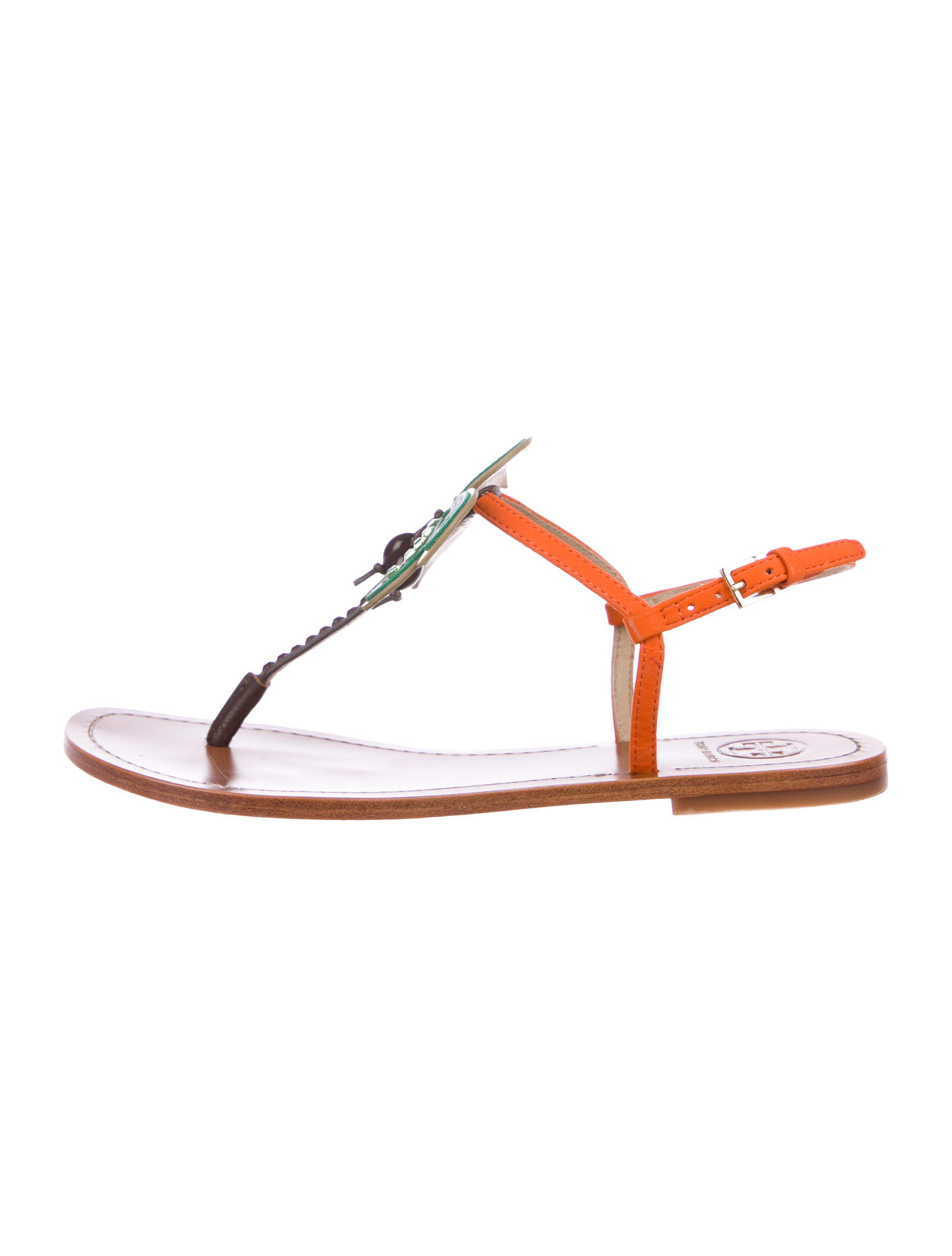 41da49bda113 Lyst - Tory Burch Embellished Thong Sandals in Brown