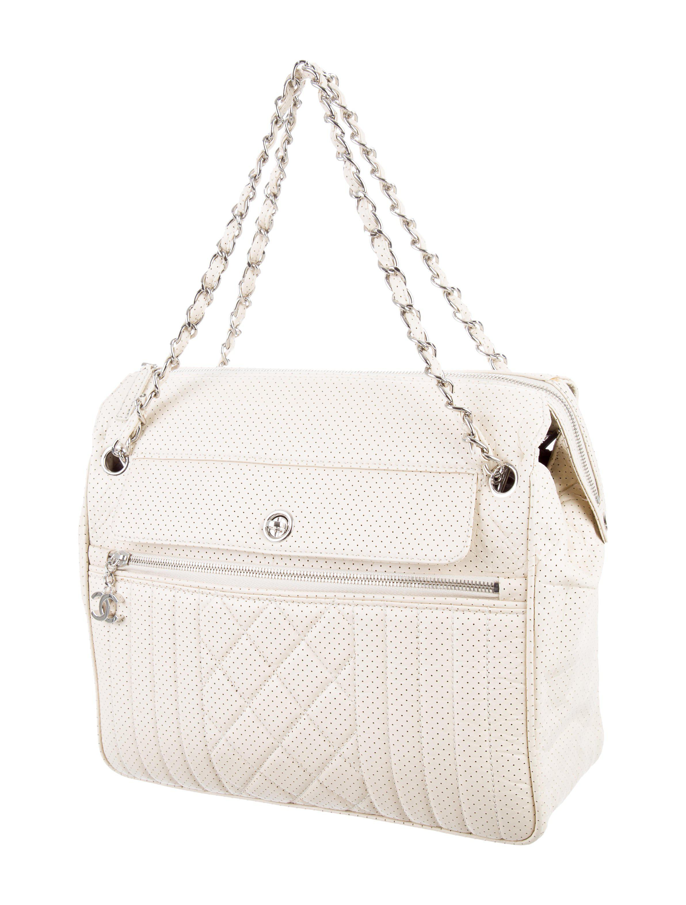 5ed4af0fbc76 Lyst - Chanel Perforated 50's Bowler Bag Silver in Metallic