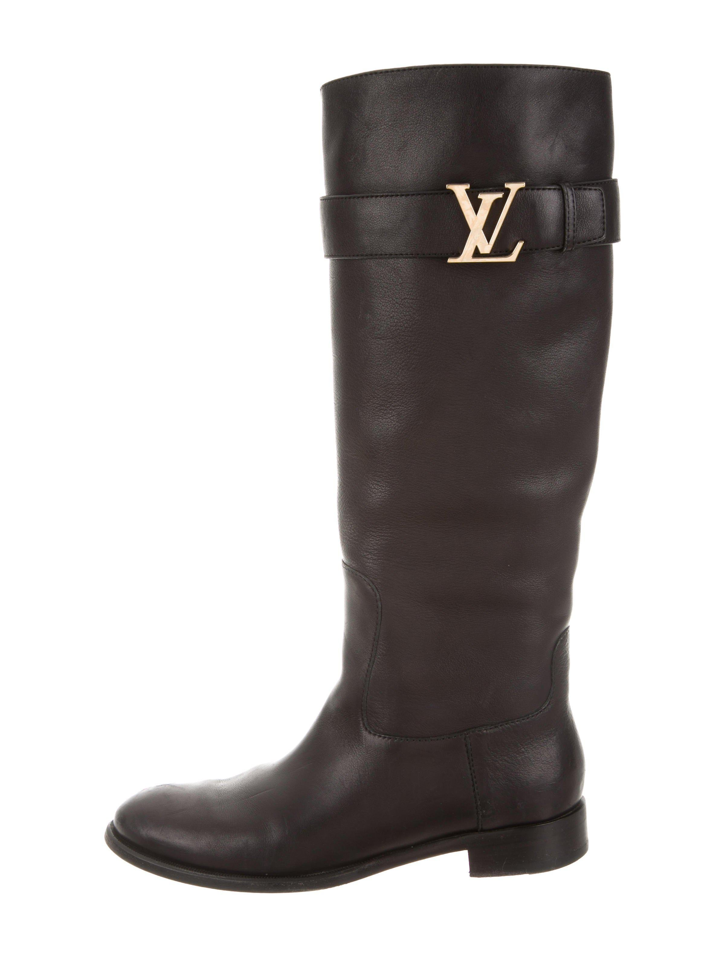 23b1ddfdb022 Lyst - Louis Vuitton Logo Leather Boots Black in Metallic