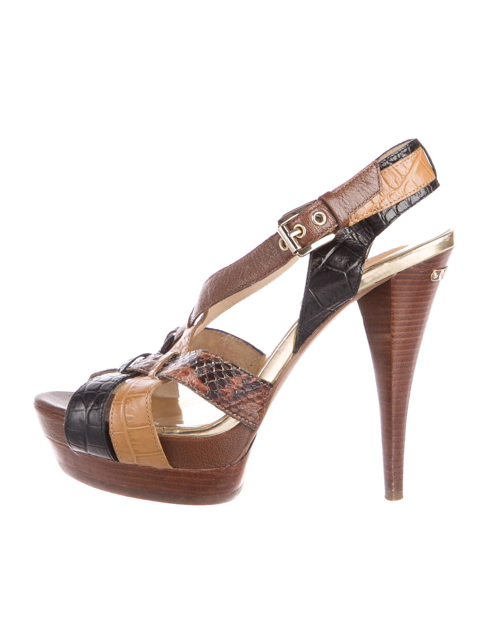 aa41905d0c Lyst - Michael Kors Snakeskni-trimmed Platform Sandals in Brown