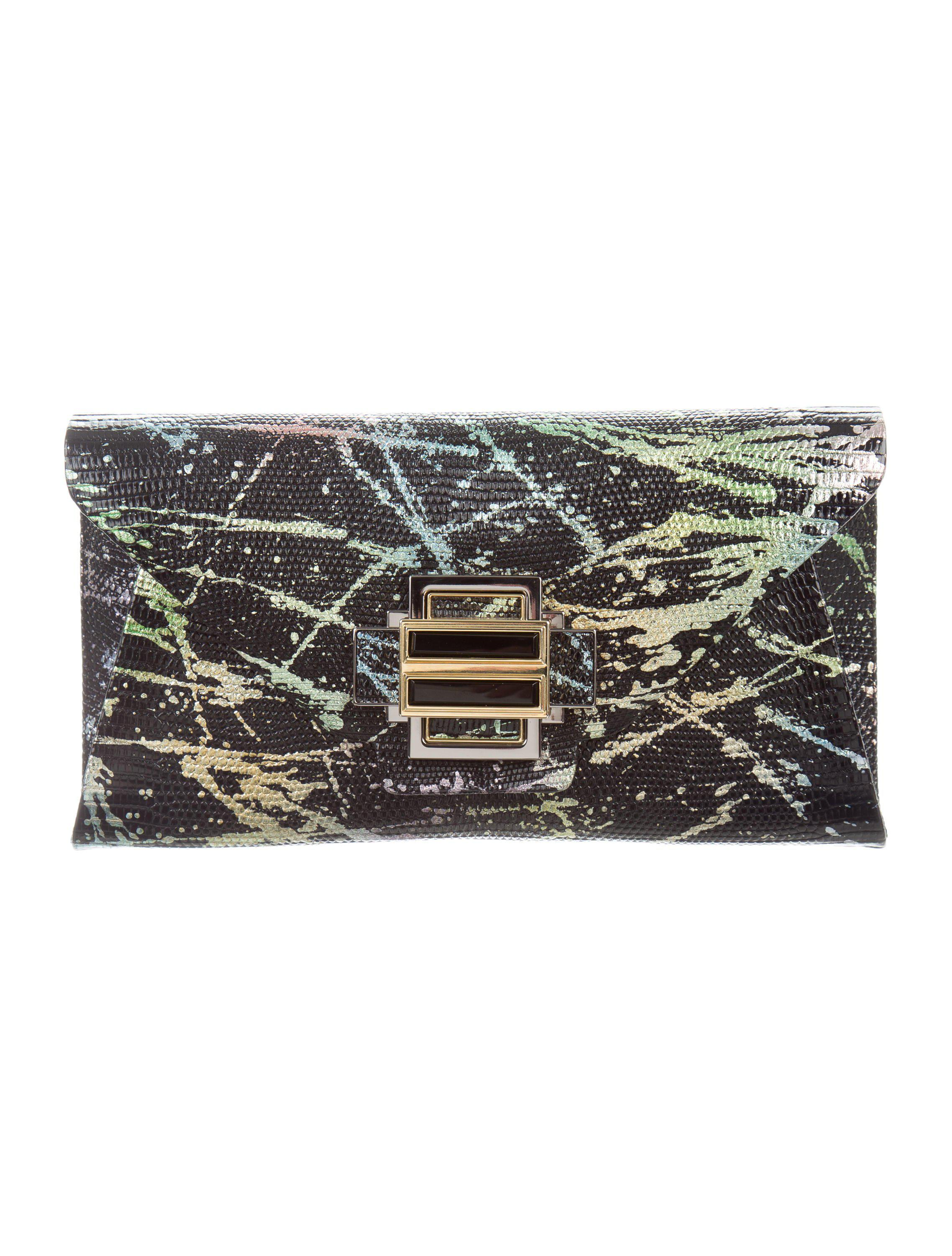 Lyst - Kara Ross Lizard Electra Clutch Black in Metallic bdf938b40b100