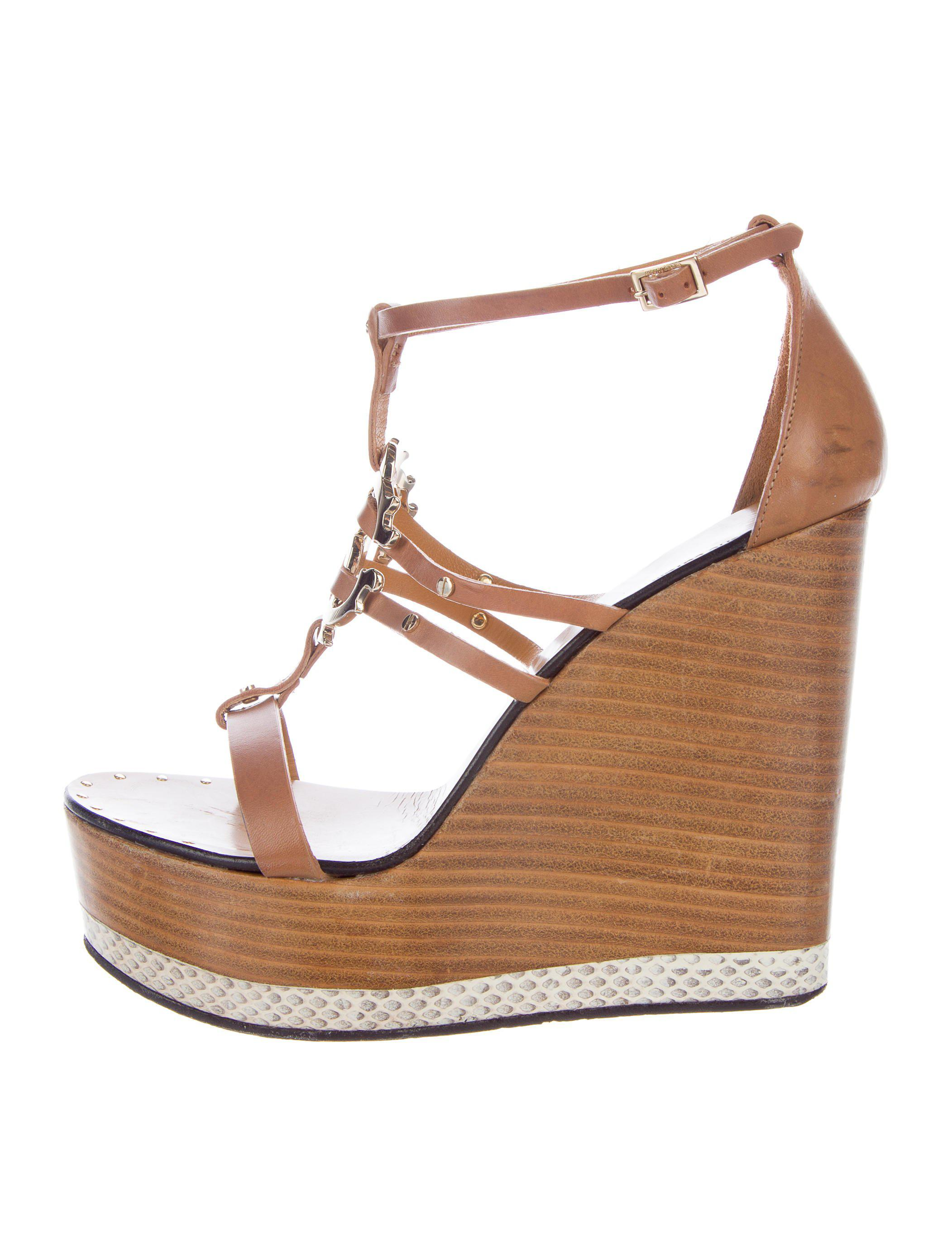 Roberto Cavalli Leather Platform Wedges cheap new styles clearance best prices free shipping largest supplier Hwx7PQ