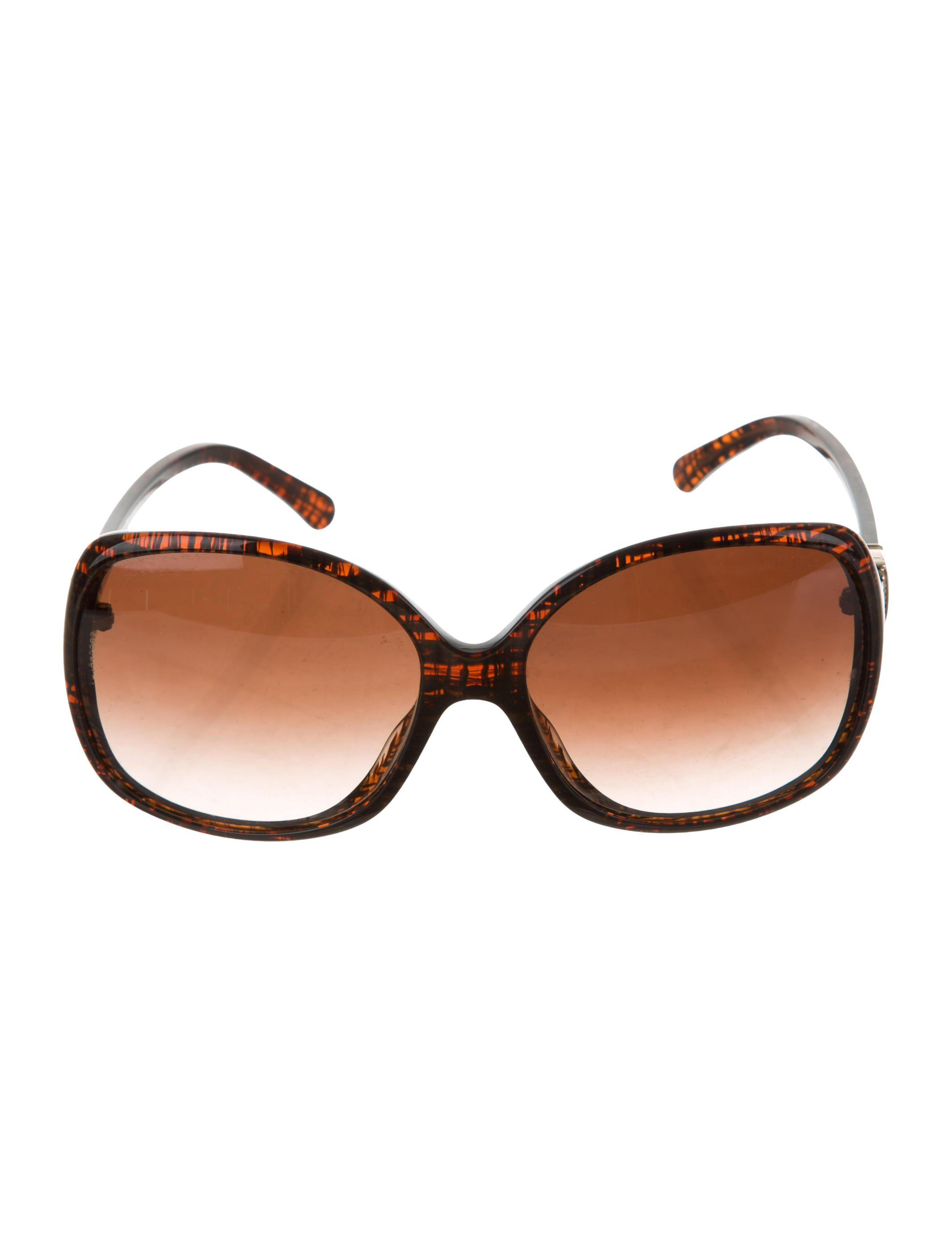 196cbda6b8a Lyst - Chanel Cc Oversize Sunglasses Brown in Metallic