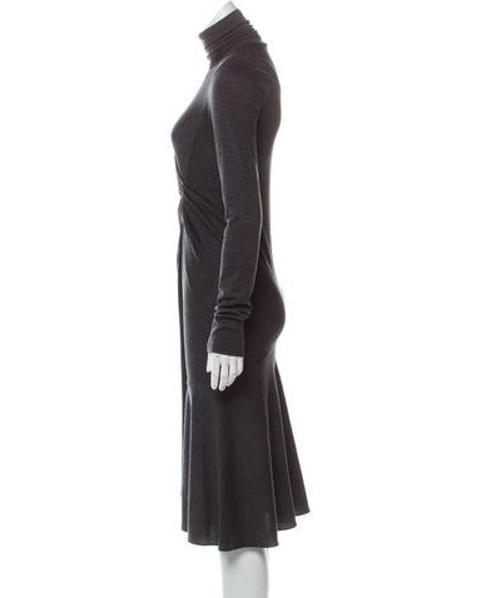 550402900eb60 Lyst - Brunello Cucinelli Gathered Sweater Dress Grey in Gray