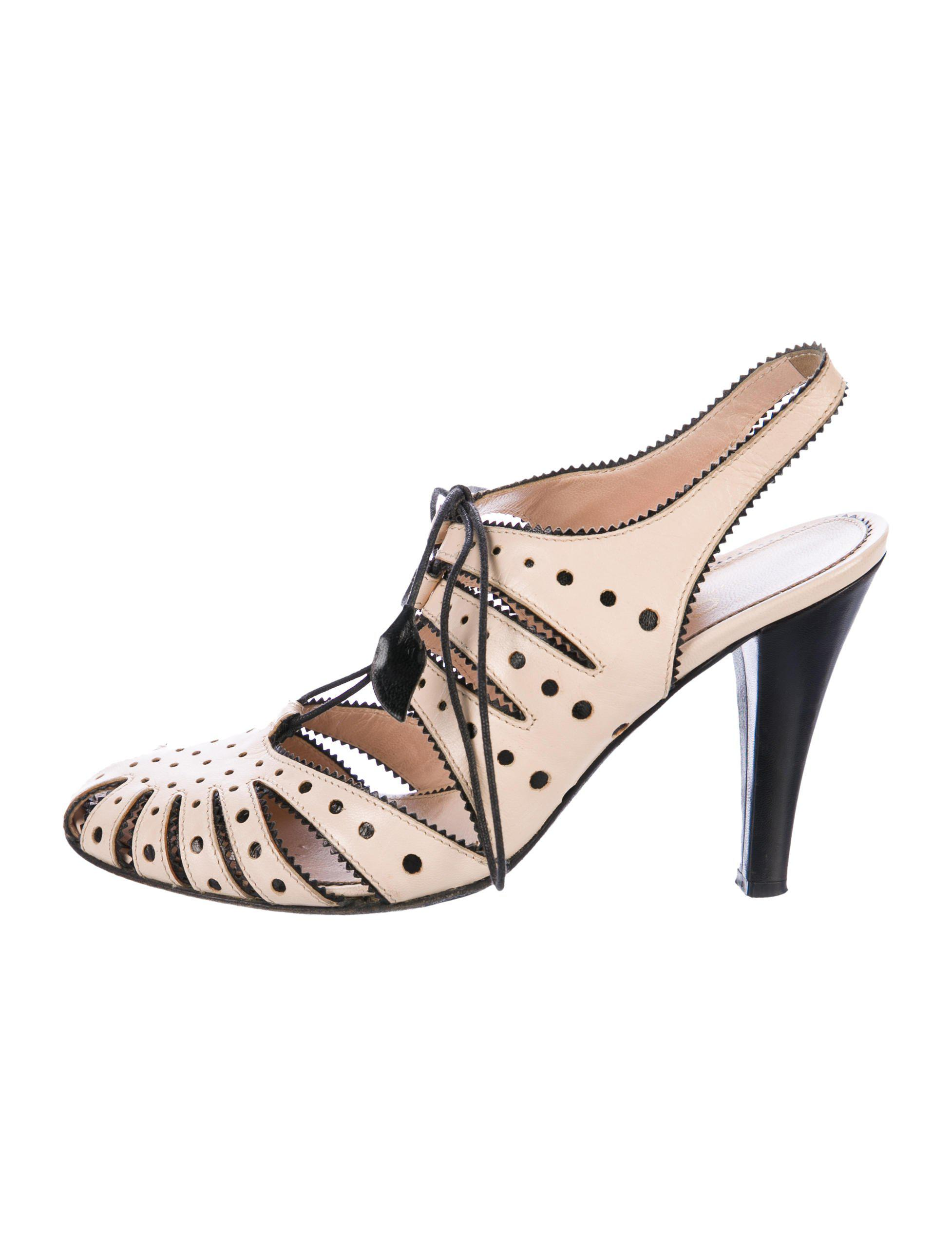 02bb461b453 Lyst - Chanel Laser-cut Slingback Pumps Nude in Natural