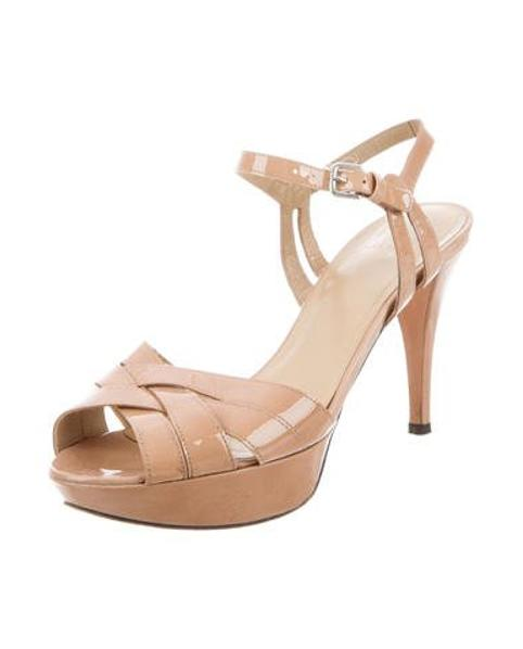 88d3a775291 Lyst - Stuart Weitzman Patent Leather Ankle Strap Sandal Nude in Metallic