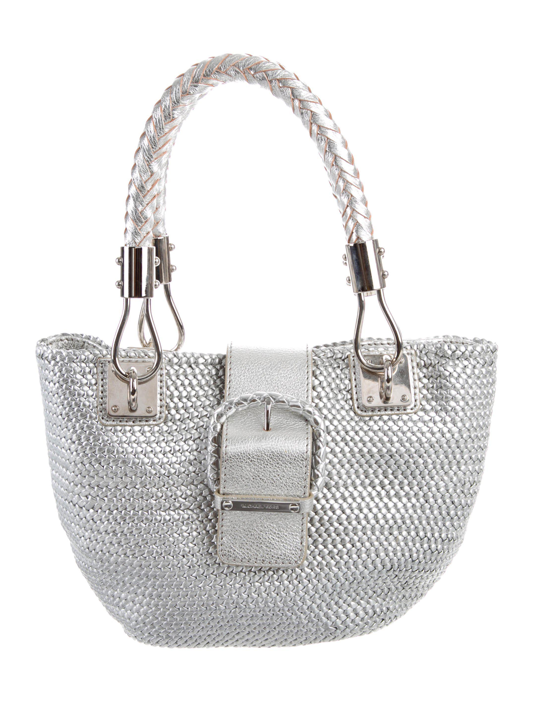 b1efcebfc4c5 Lyst - Michael Kors Leather Tote in Metallic