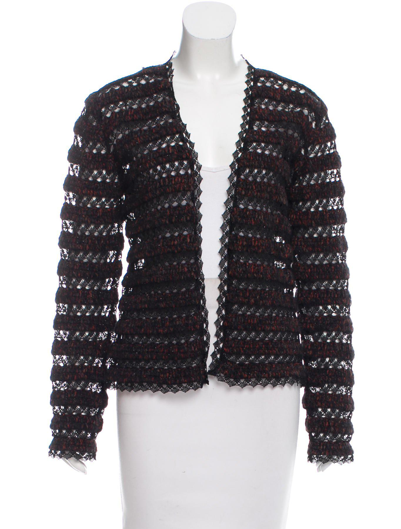 Chanel Crochet Lace Cardigan in Red | Lyst