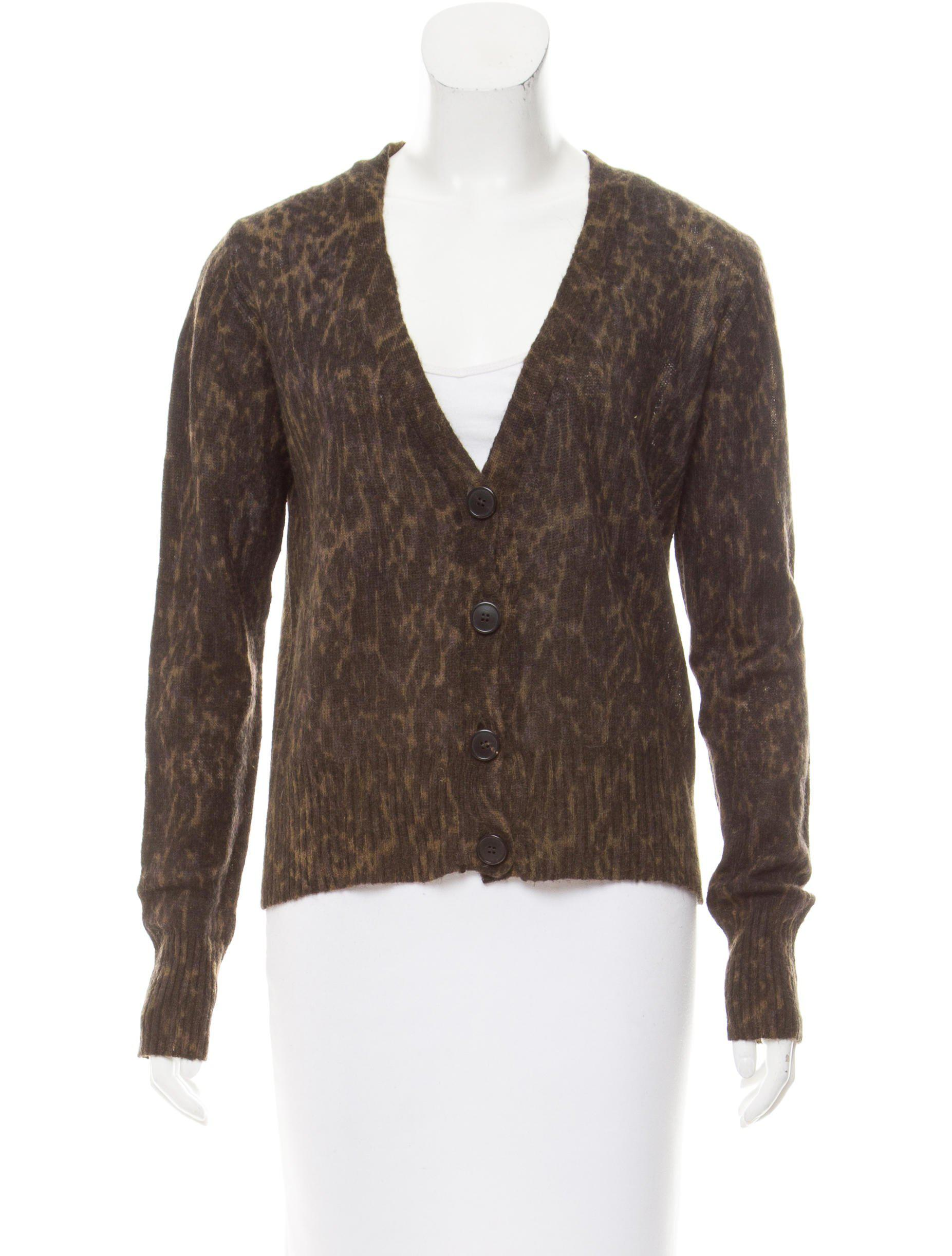 Dries van noten Leopard Print V-neck Cardigan Olive in Green | Lyst