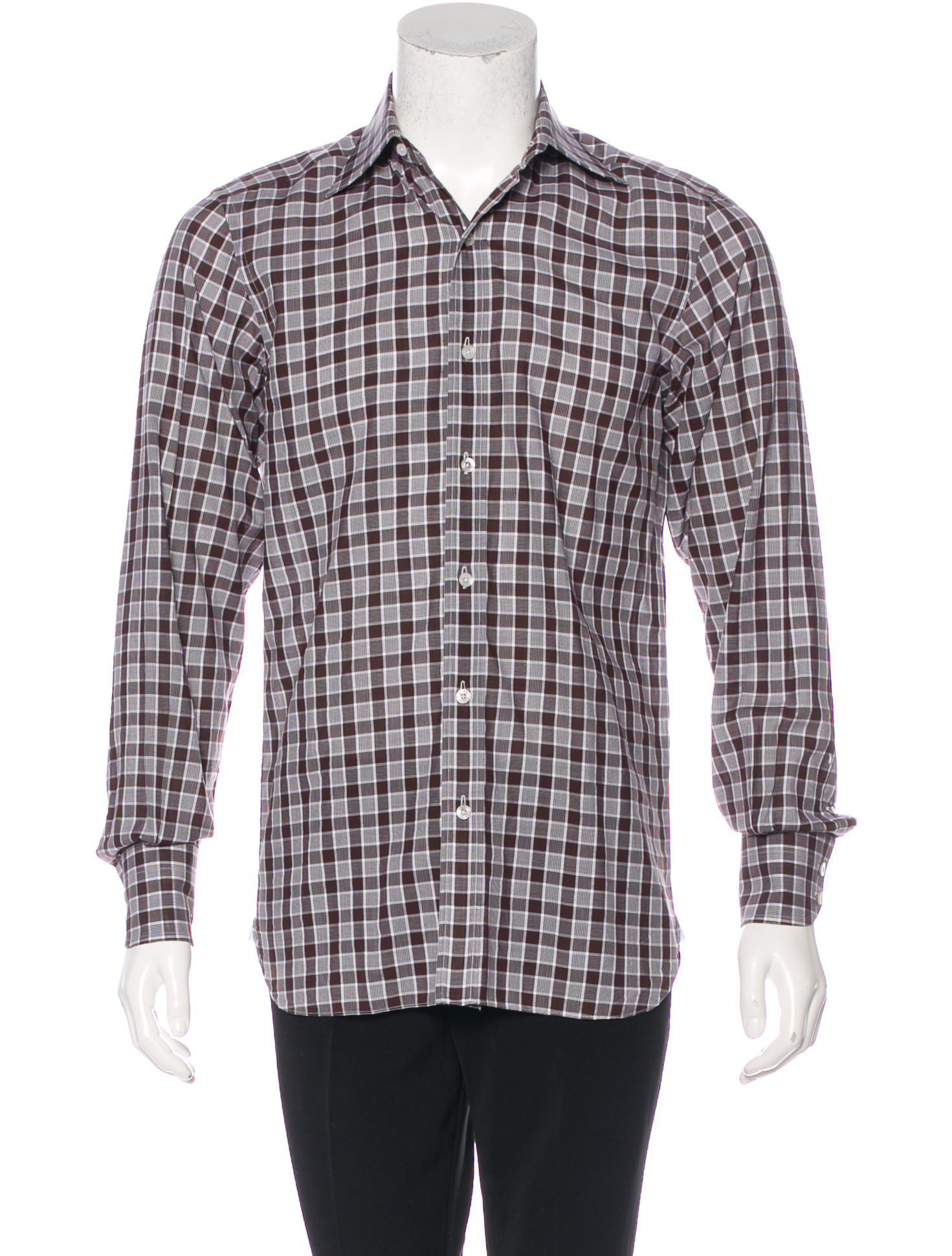 18740eeca5cc Lyst - Tom Ford Gingham Dress Shirt Brown in Brown for Men