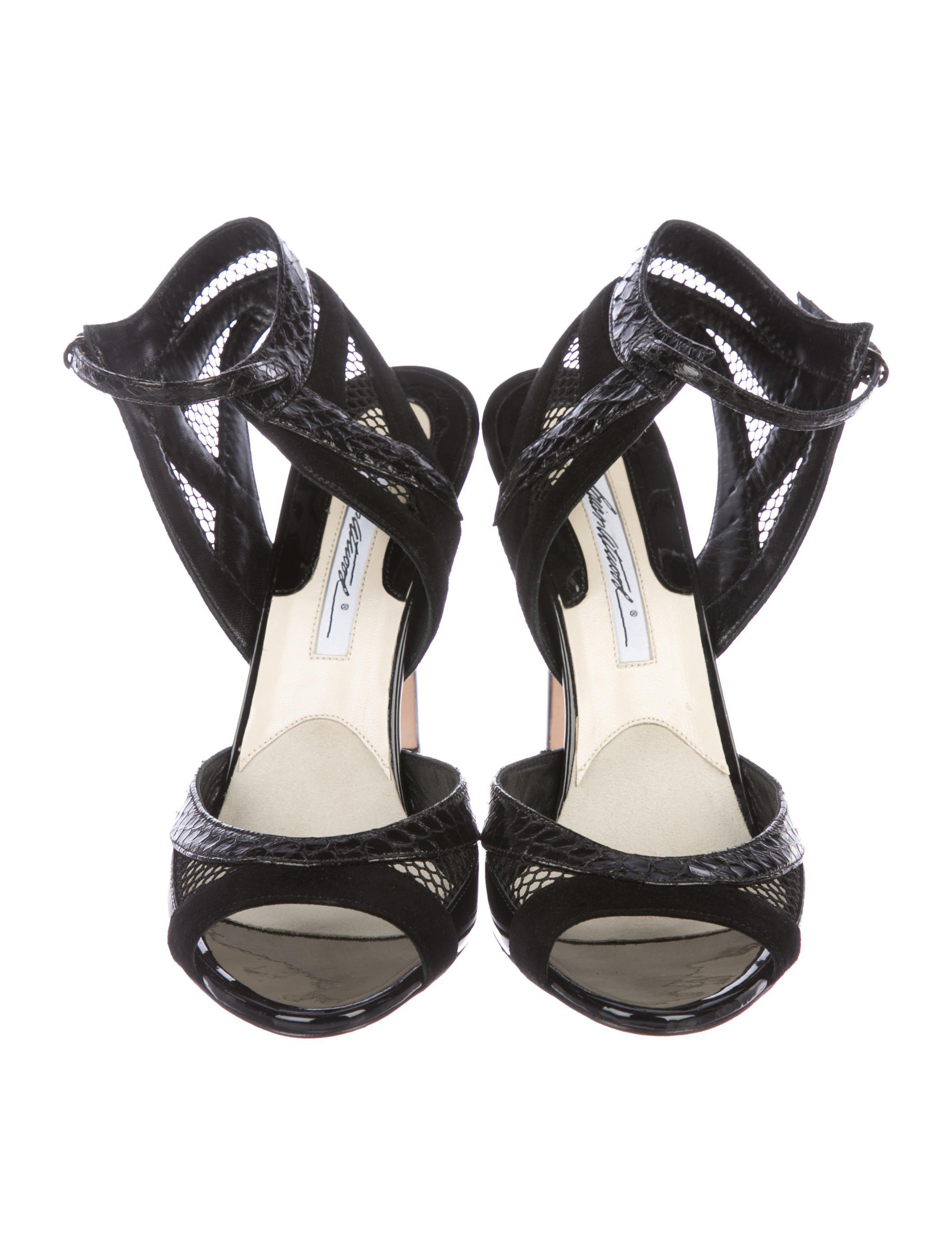 619f693d0db4 Brian Atwood - Black Snakeskin-trim Ankle Strap Sandals - Lyst. View  fullscreen