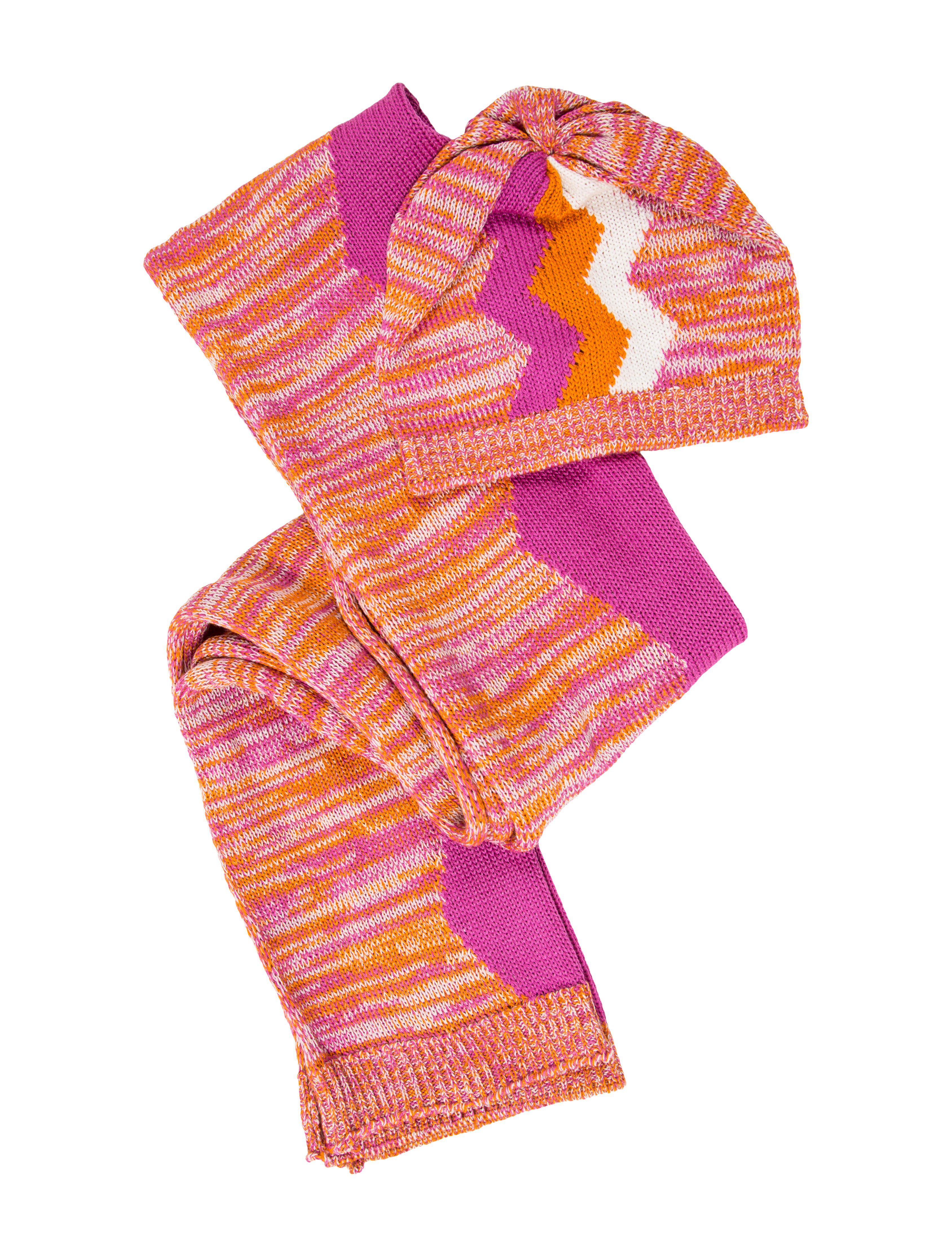 97ef8d95cf5 Lyst - Missoni Knit Hat   Scarf Set W  Tags in Pink