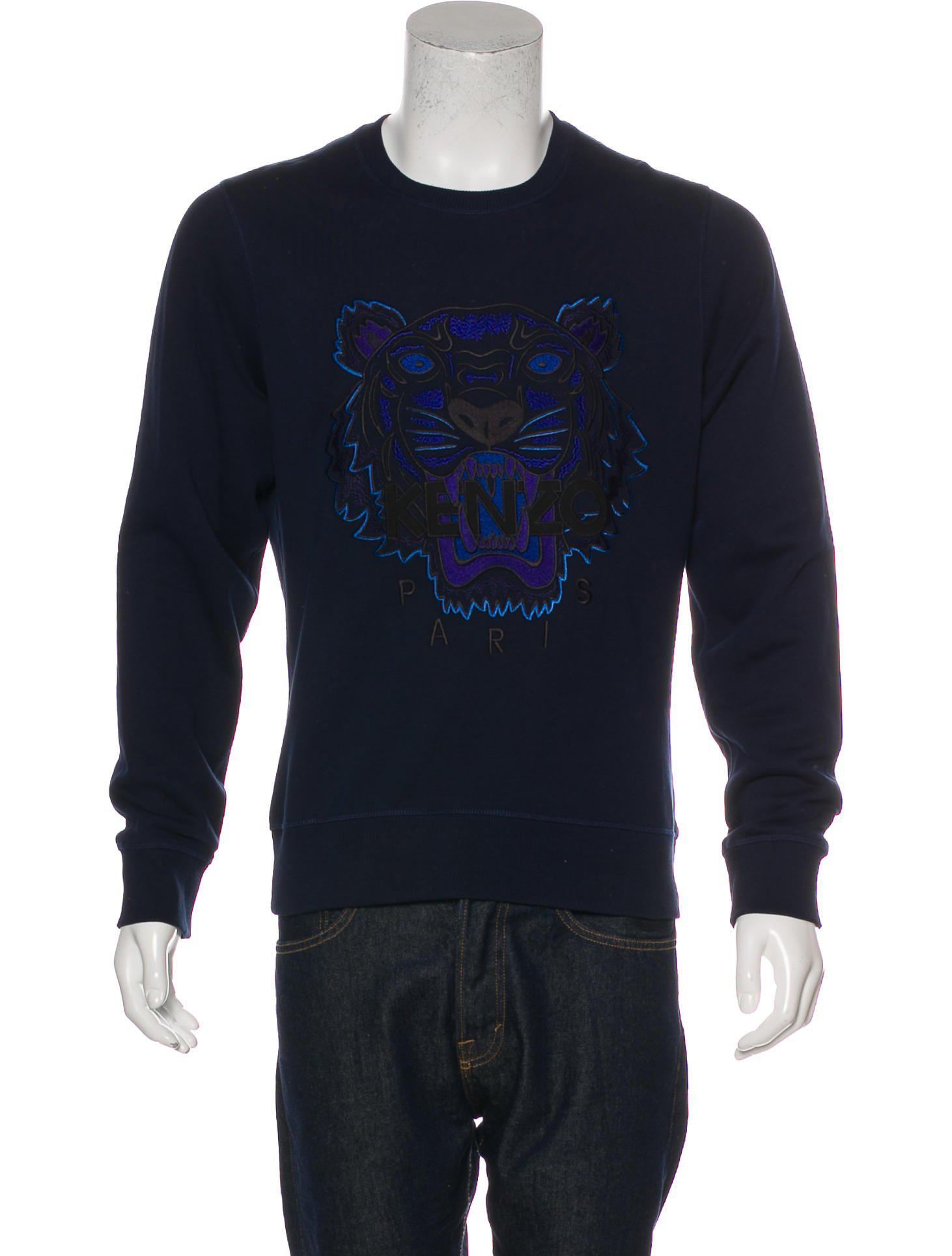 334af904eb1 Lyst - Kenzo Tiger Logo Embroidered Sweatshirt in Blue for Men