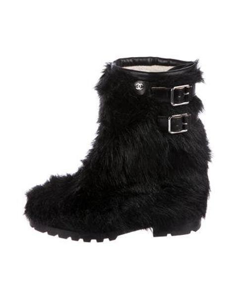 d0c7a6723d77 Lyst - Chanel Faux Fur Mid-calf Boots Black in Metallic
