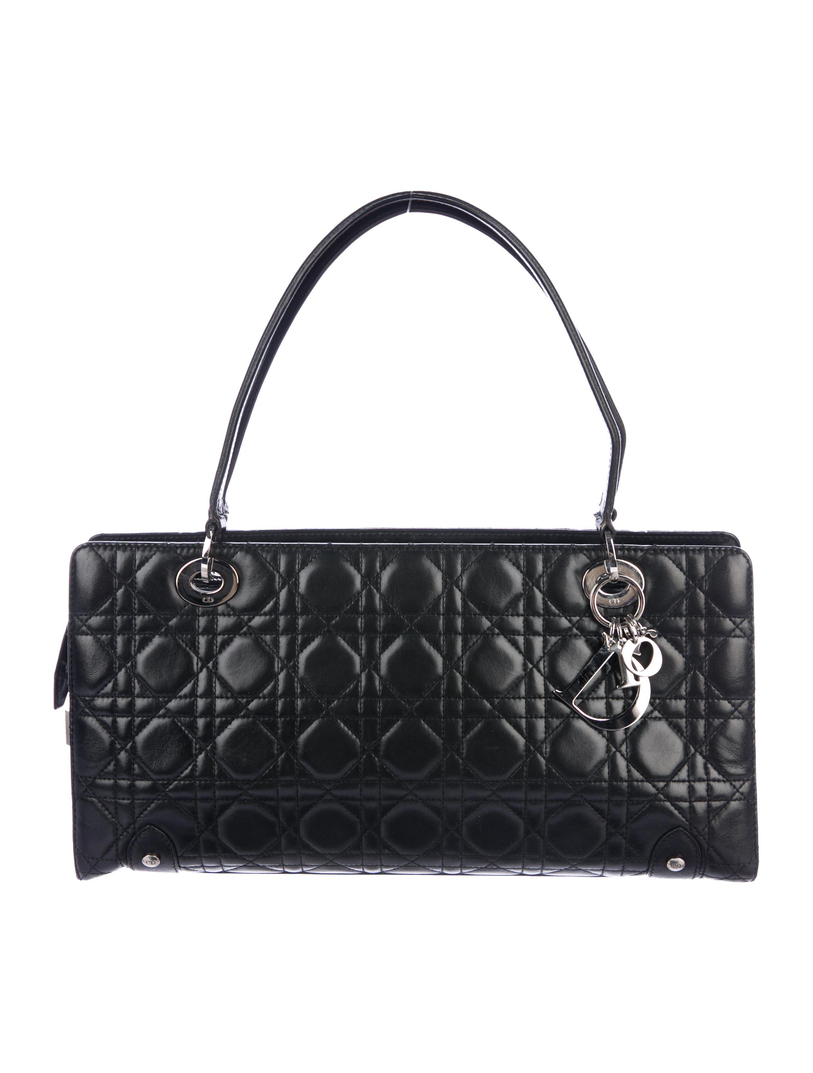 7ce7f81ece16 Lyst - Dior Cannage Shoulder Bag Black in Metallic