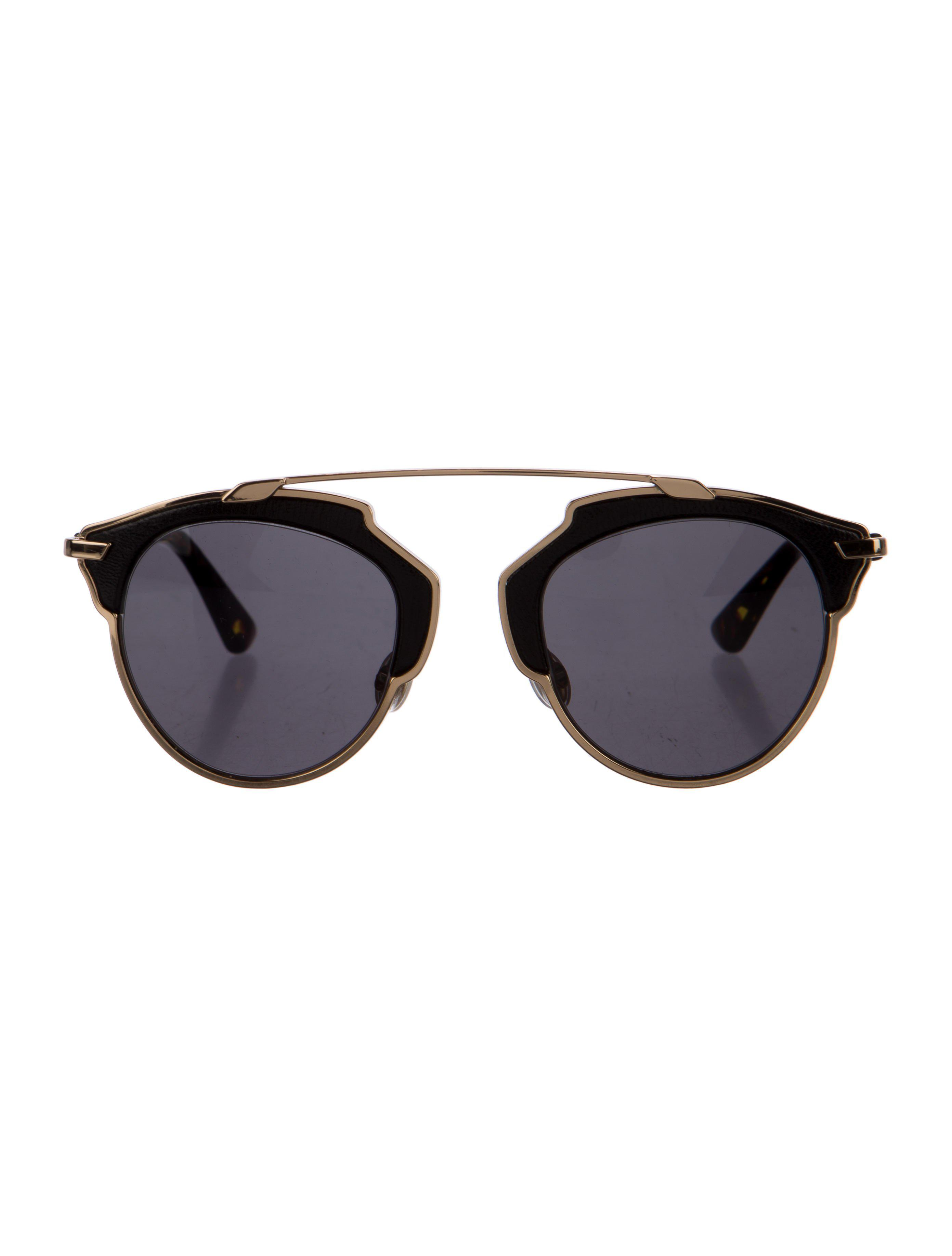 637834d38f3 Lyst - Dior So Real Leather-accented Sunglasses in Brown