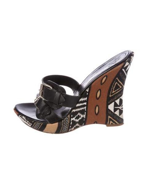 4ab12043787 Lyst - Casadei Leather Wedge Sandals Black in Metallic