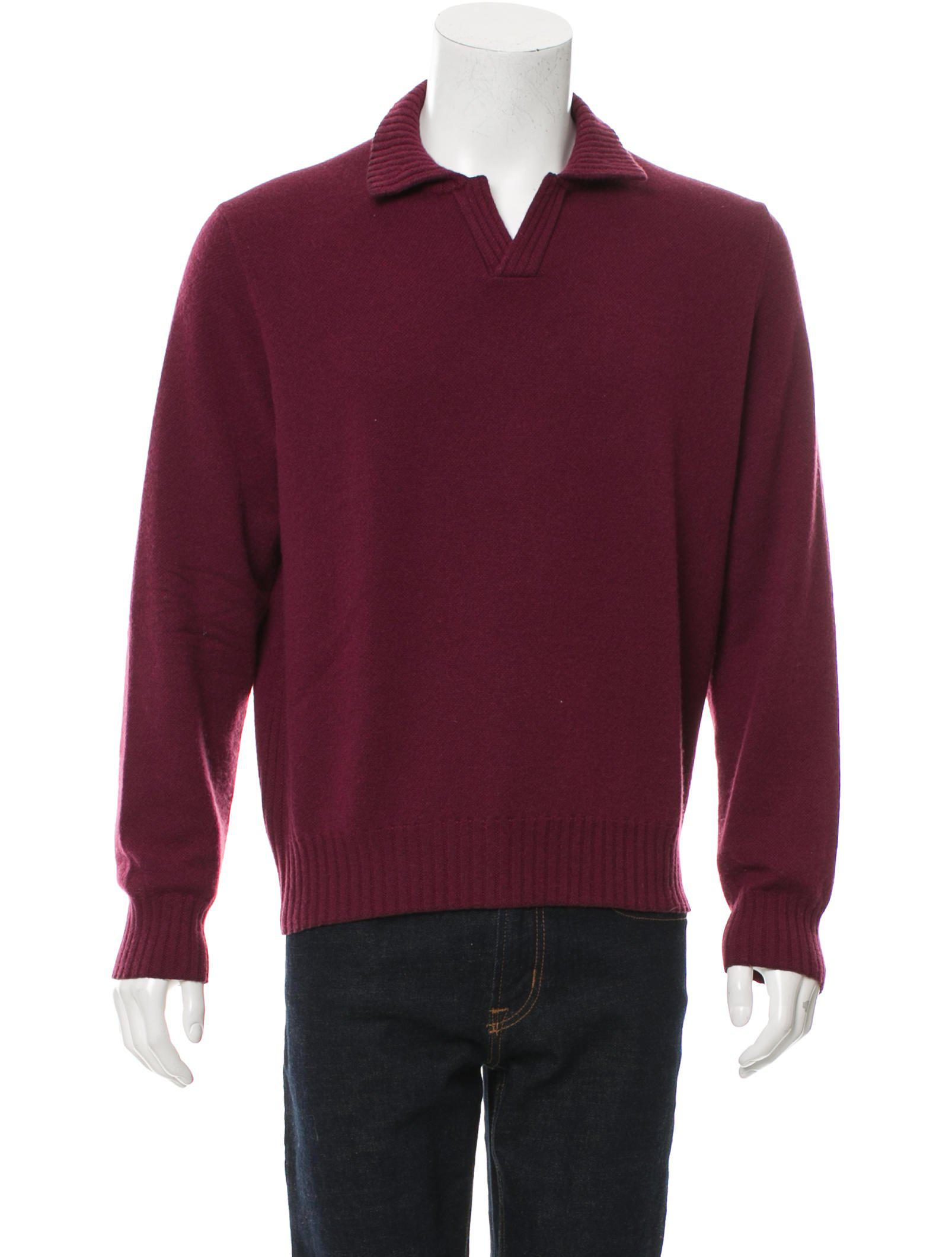Loro piana Suede-trimmed Cashmere Sweater Burgundy in Red for Men ...