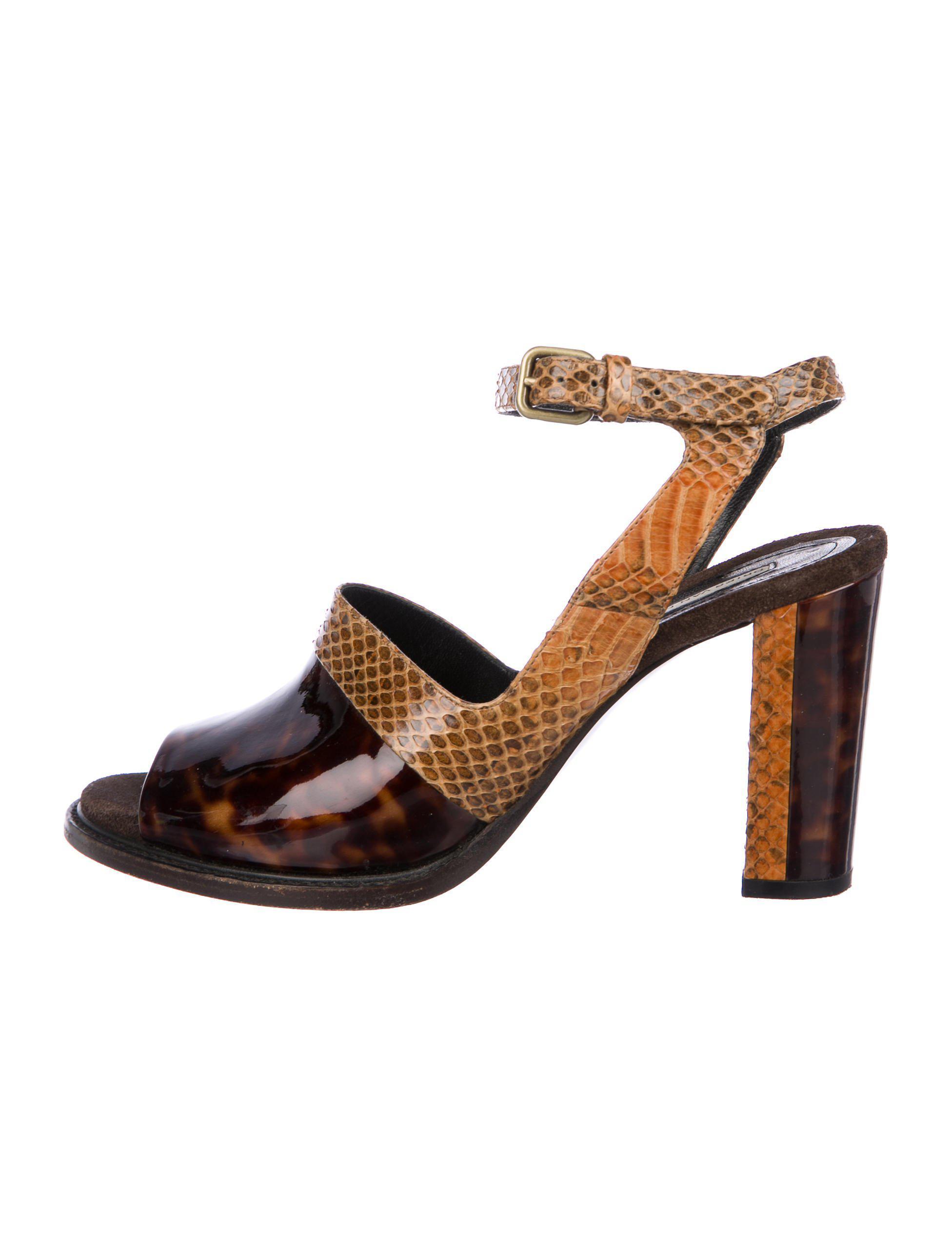 e4d11967918 Lyst - Dries Van Noten Snakeskin Peep-toe Sandals Brown in Metallic
