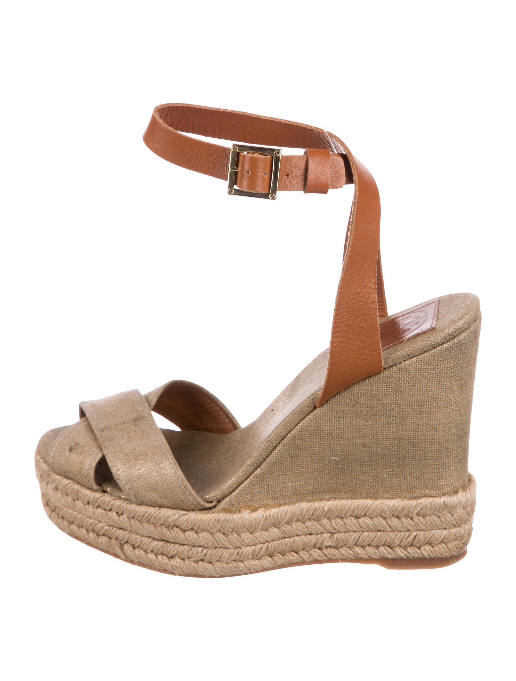 1f674aa60 Lyst - Tory Burch Canvas Wedge Sandals Beige in Natural