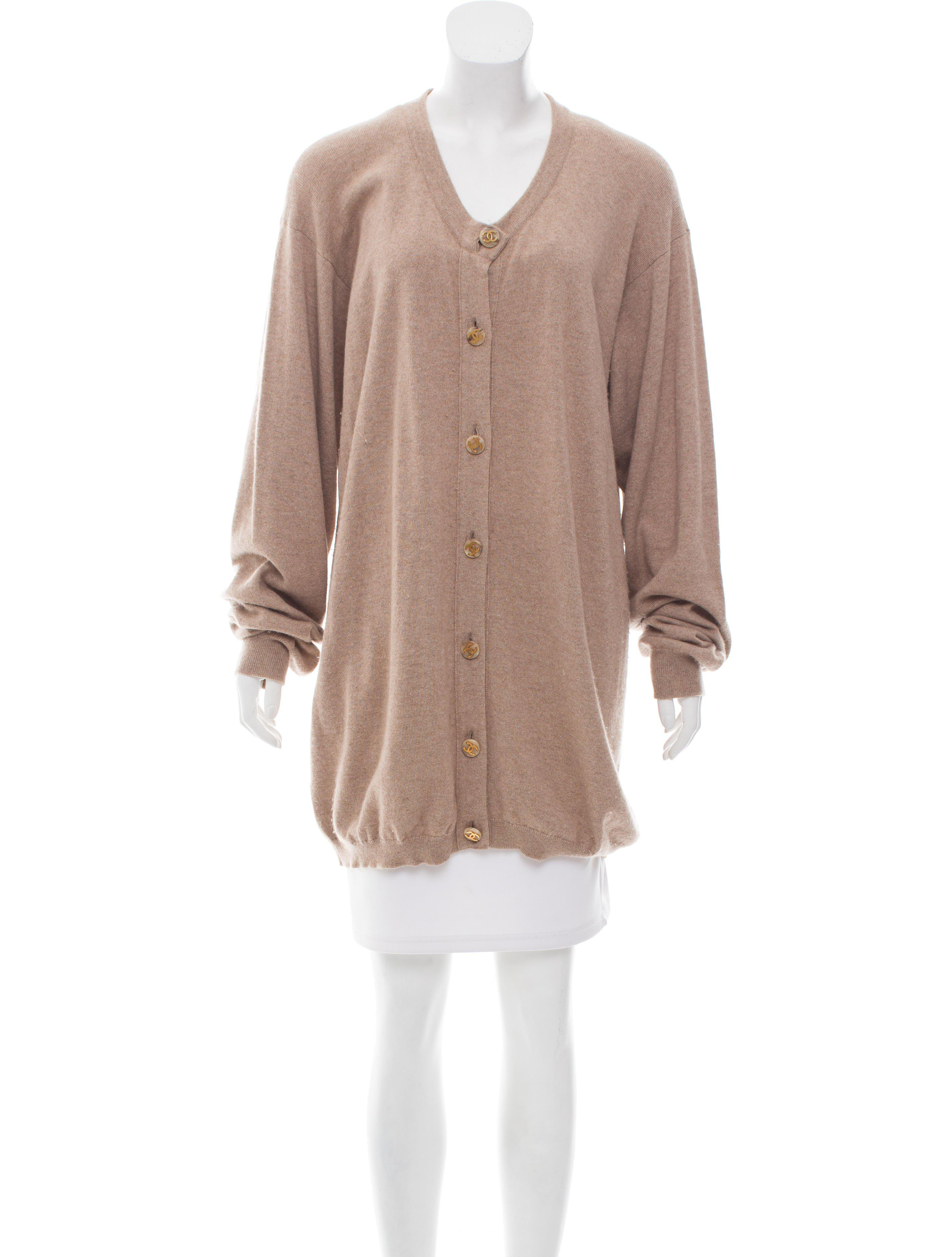 Chanel Longline Cashmere Cardigan Tan in Natural | Lyst