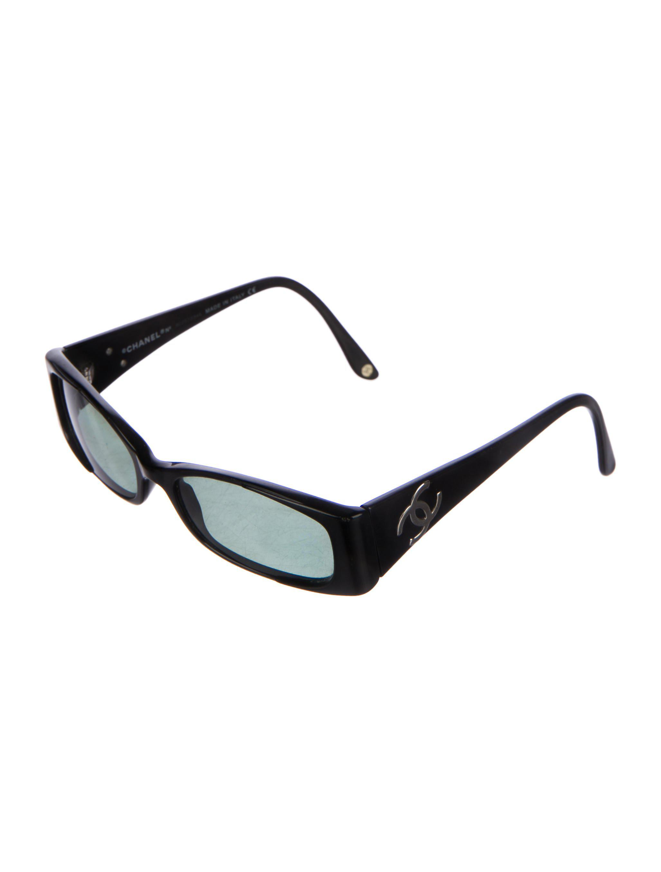8b5d59b3f18 Lyst - Chanel Vintage Cc Sunglasses Black in Metallic