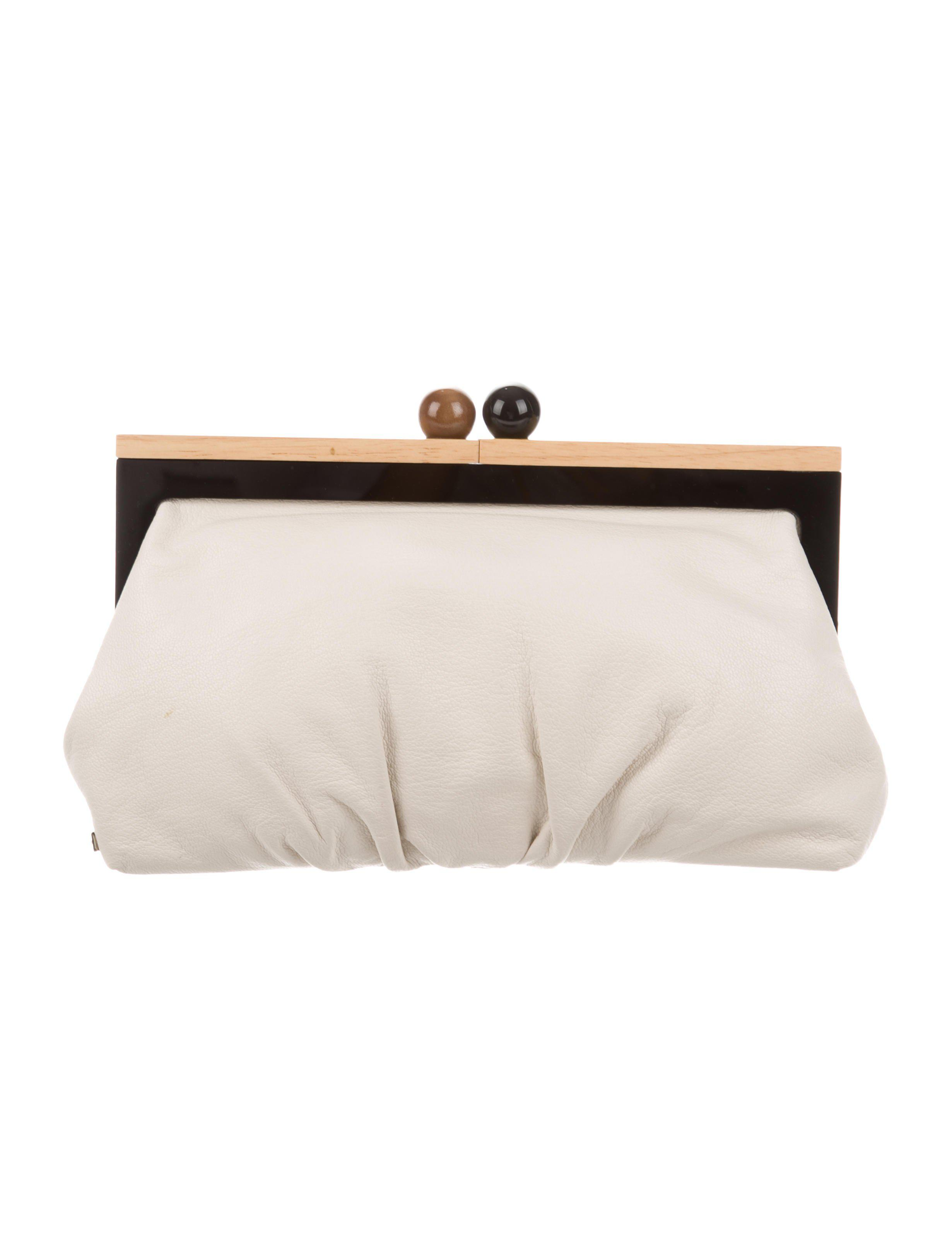 Lyst - Kate Spade Leather Frame Clutch White in Metallic