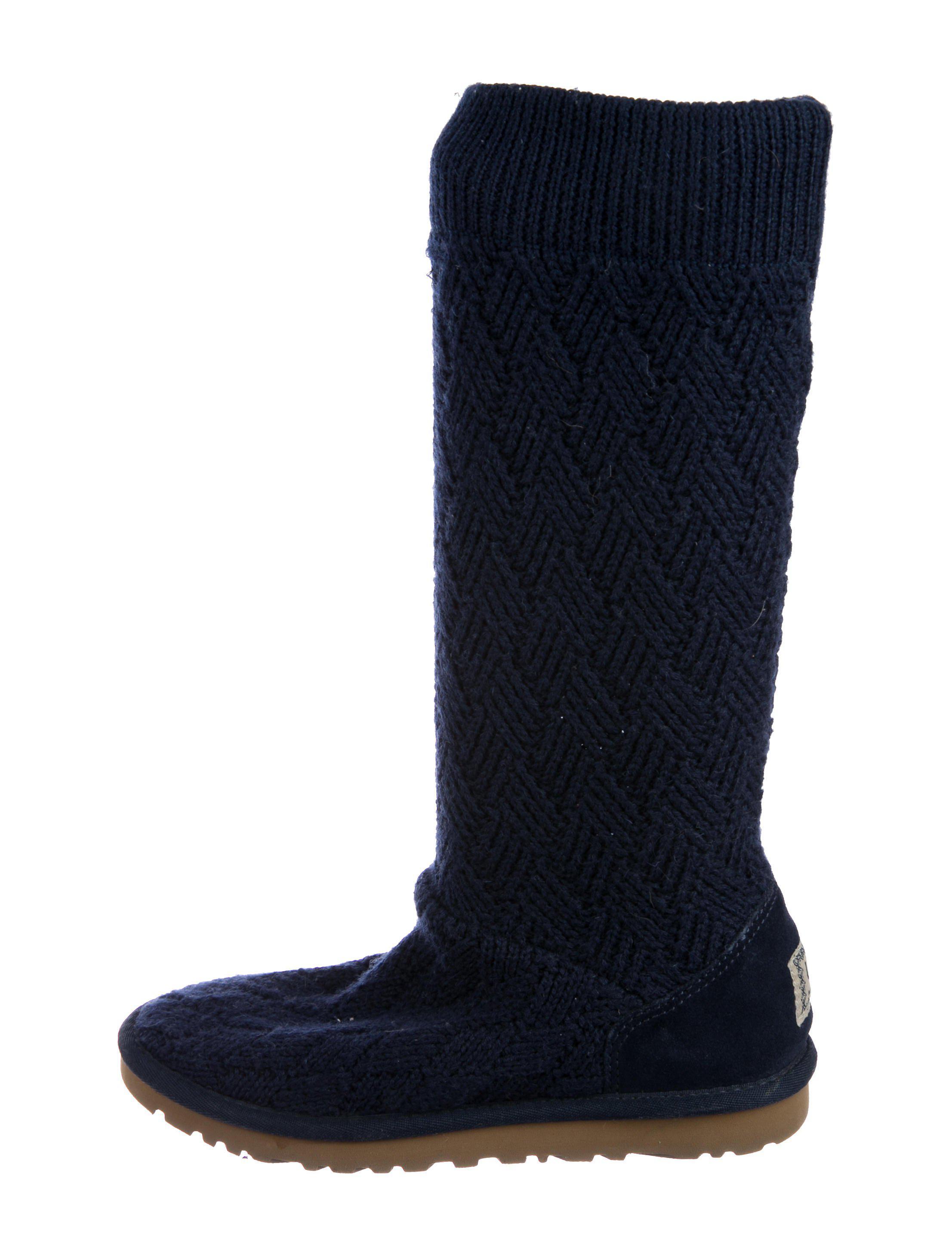 UGG. Women's Blue Knit Knee-high Boots Navy