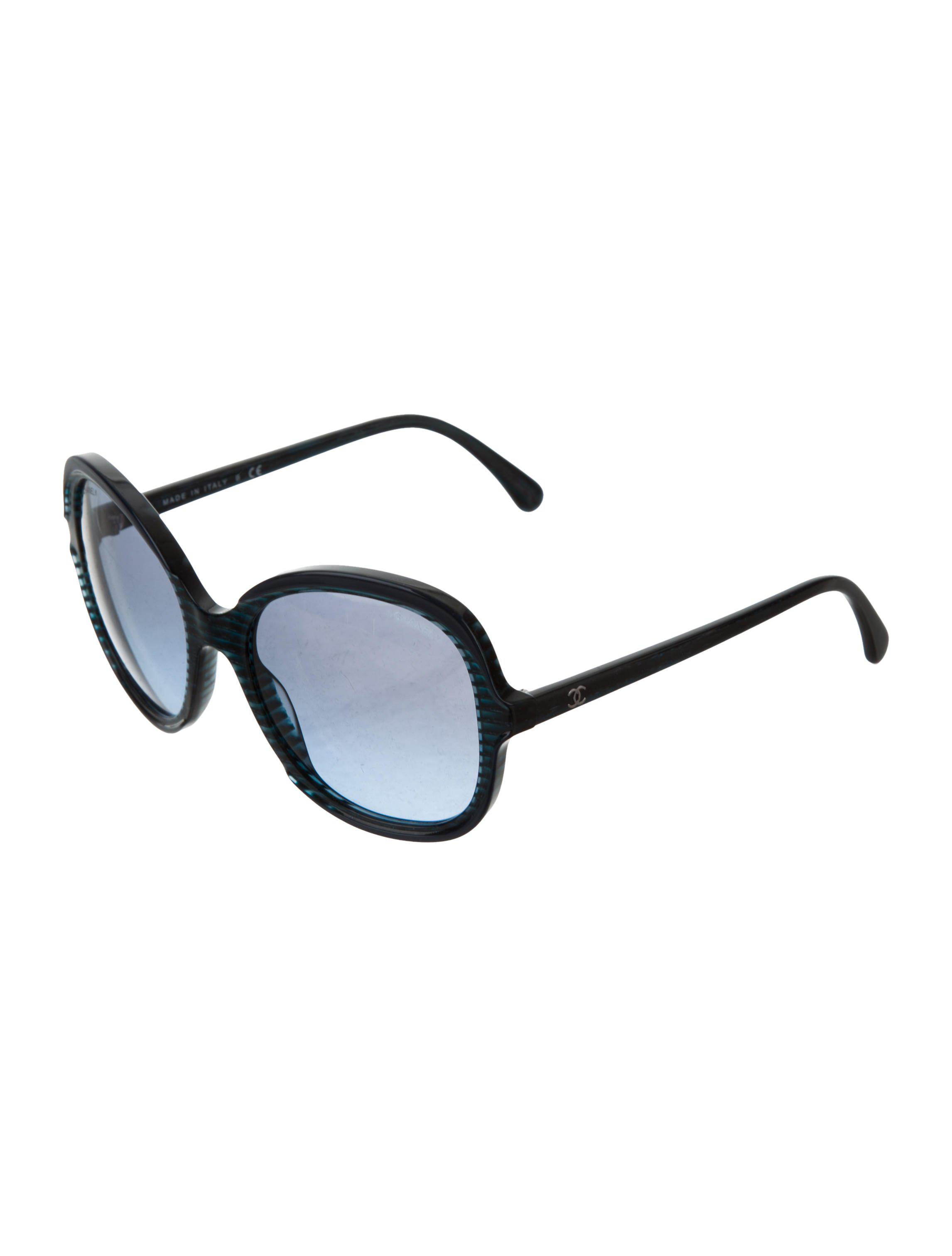 d82a1ee243 Lyst - Chanel Marbled Round Sunglasses in Blue