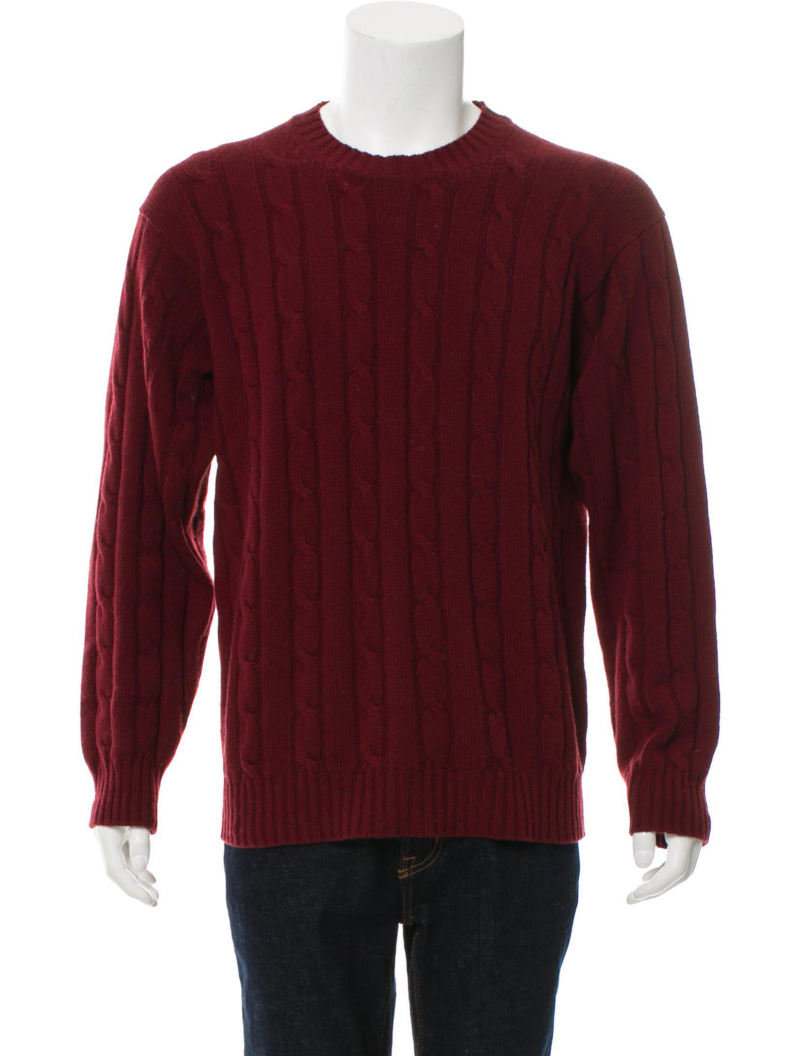 Lyst Loro Piana Cashmere Cable Knit Sweater Burgundy In Red For Men