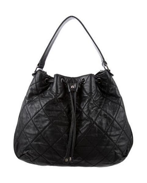 Lyst - Chanel Diamond Stitch Drawstring Hobo Black in Metallic b698f662a6907